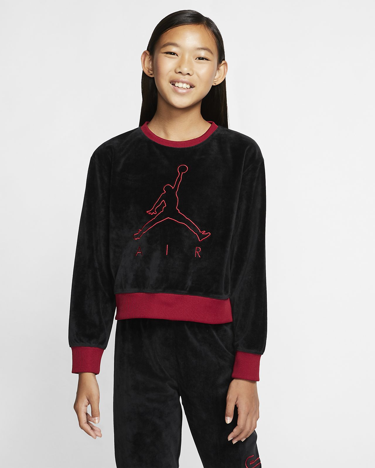 Air Jordan Kort shirt van velours met ronde hals voor meisjes