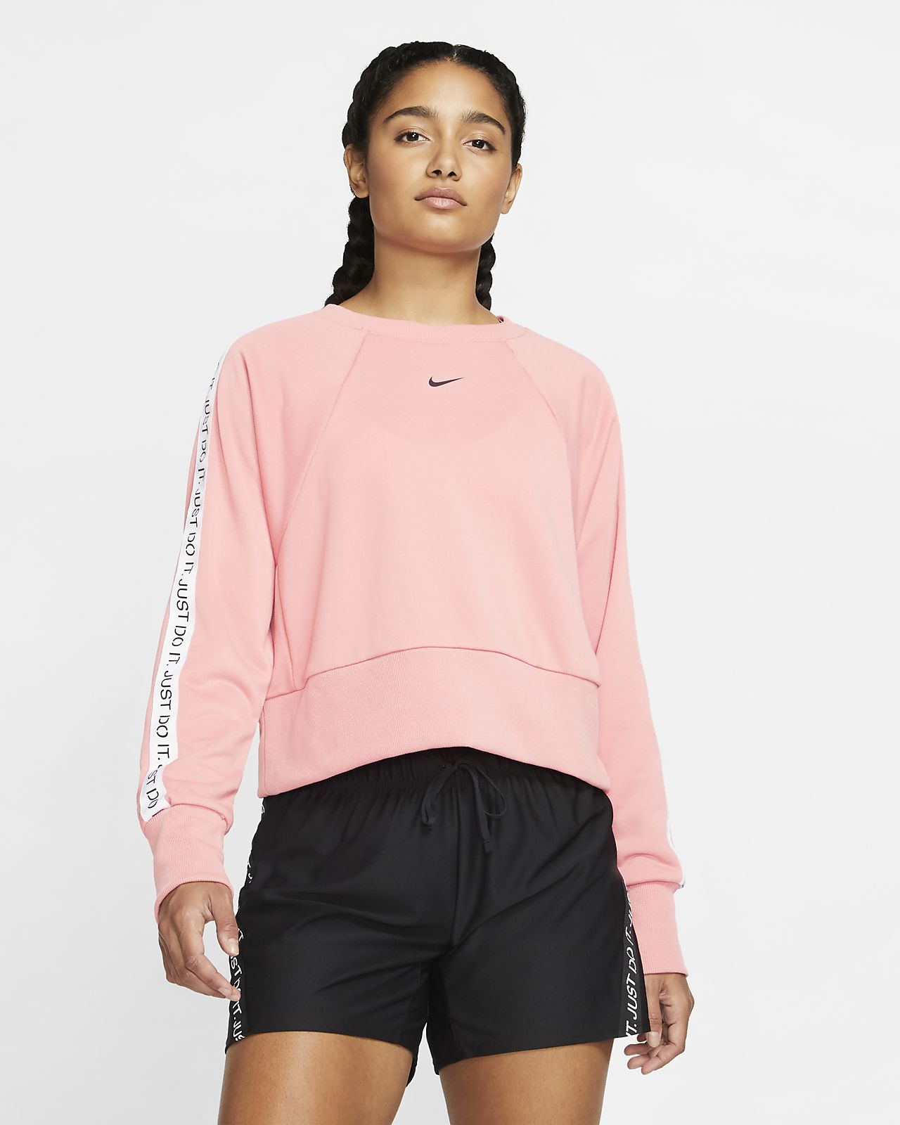 Nike Dri-FIT Get Fit JDI-Trainings-Rundhalsshirt aus Fleece für Damen