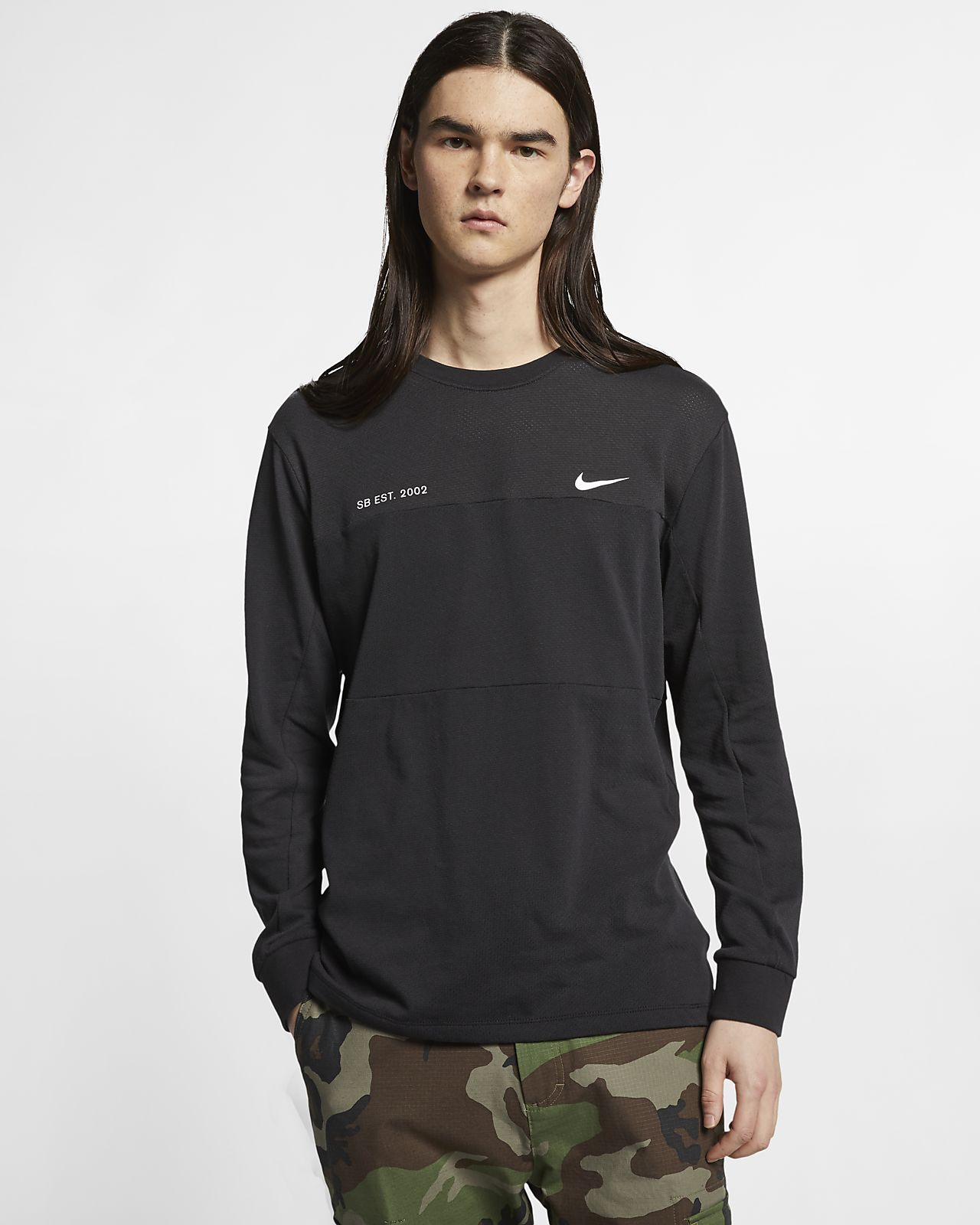 Haut de skateboard à manches longues en mesh Nike SB pour Homme