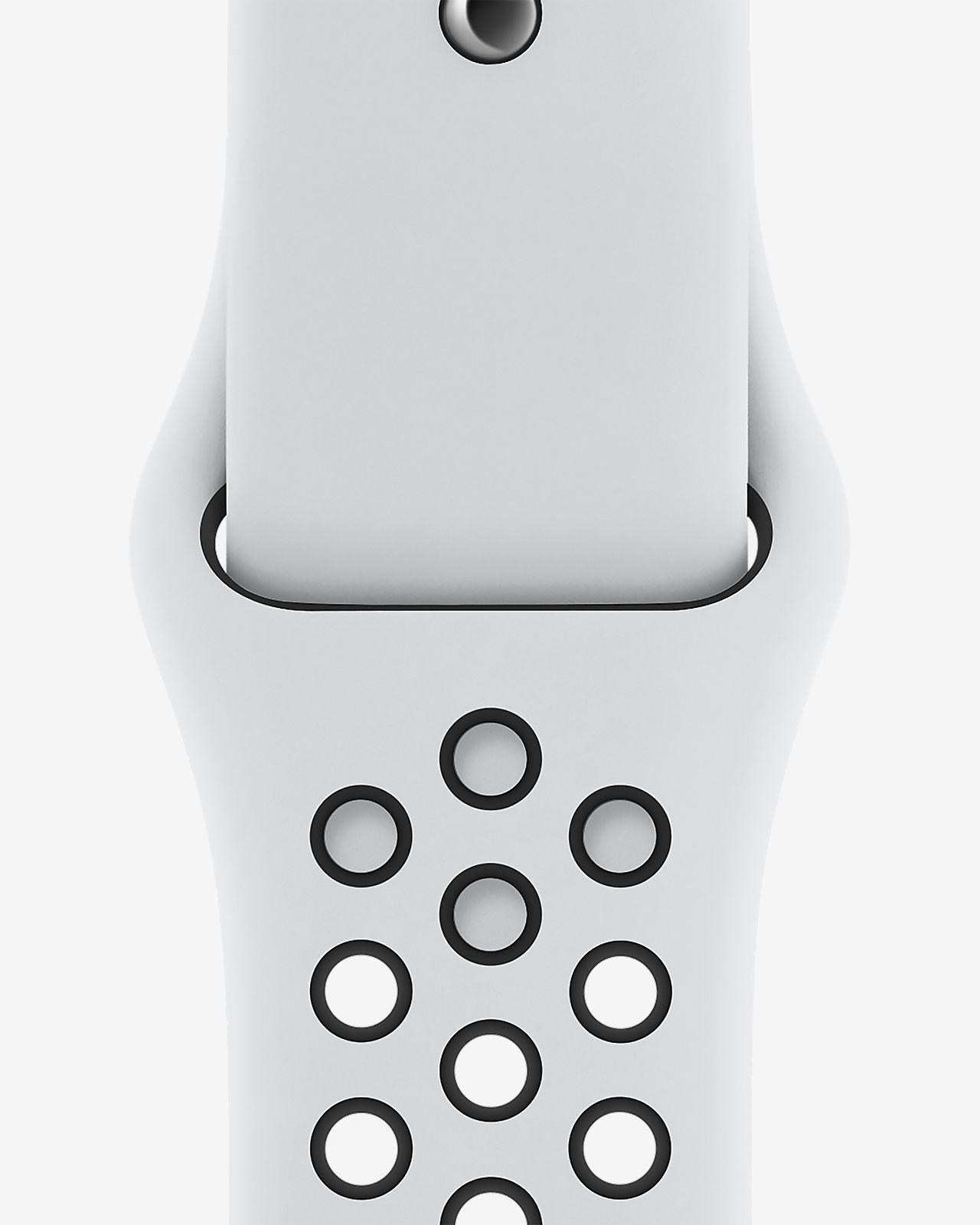 Pasek sportowy 44 mm czysta platyna/czerń do zegarka Apple Watch Nike