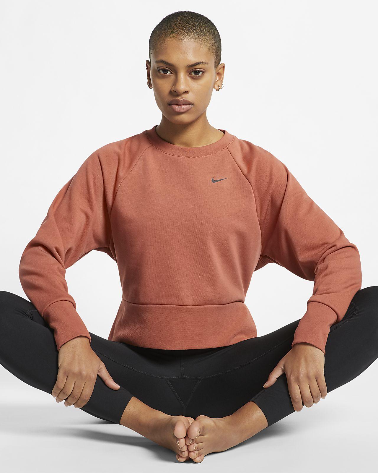 Langærmet Nike Dri-FIT-yogatræningstop til kvinder
