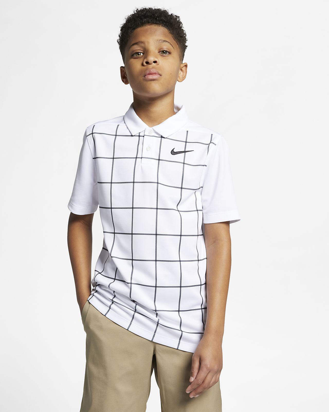 Рубашка-поло для гольфа с принтом для мальчиков школьного возраста Nike Dri-FIT