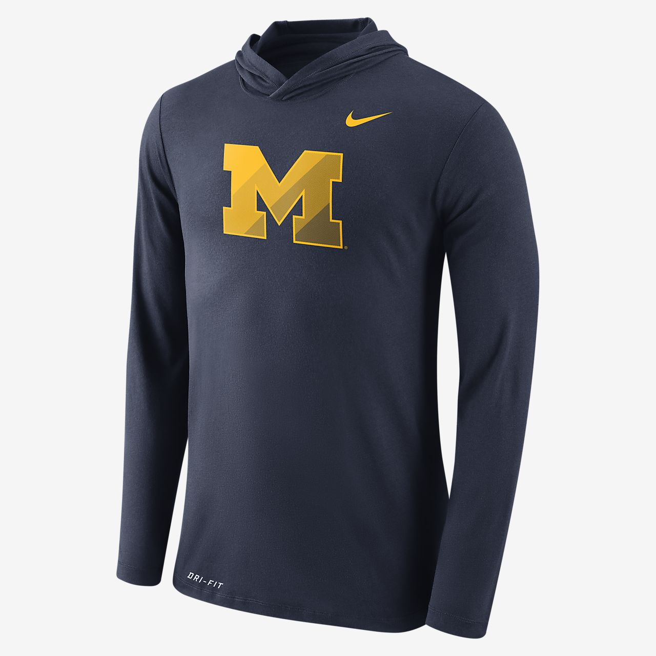 ... Nike College Dri-Blend Hooded (Michigan) Men's Long Sleeve T-Shirt
