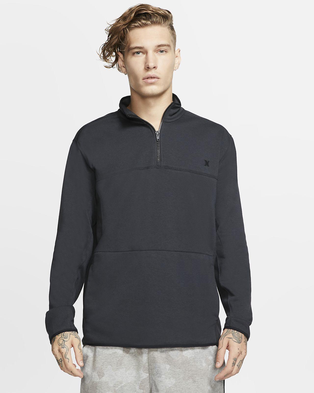 Hurley Dri-FIT Naturals-overdelen i fleece med lynlås i 1/4-længde til mænd