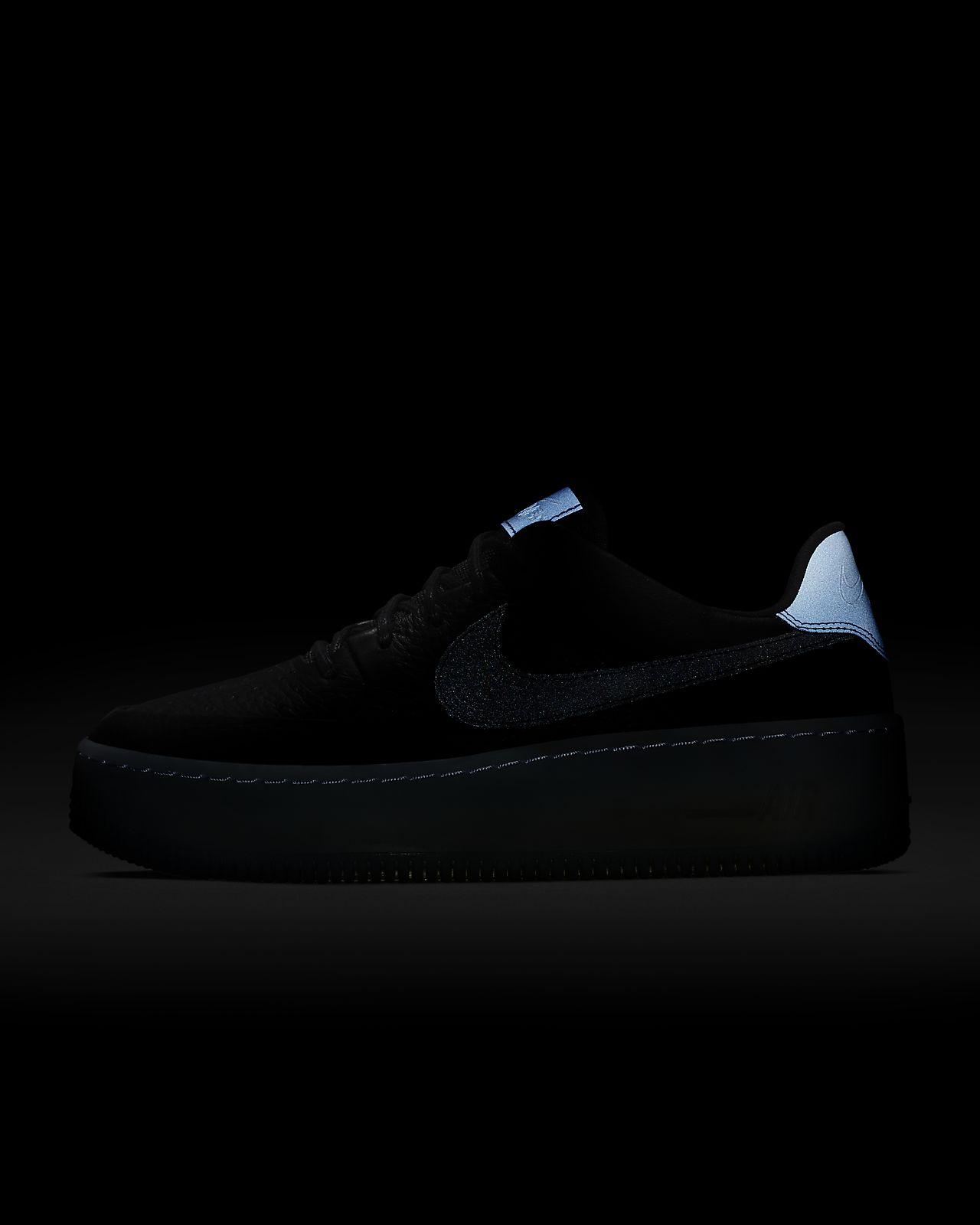 Nike Women Air Force 1 Flyknit Low (black black blue tint game royal)