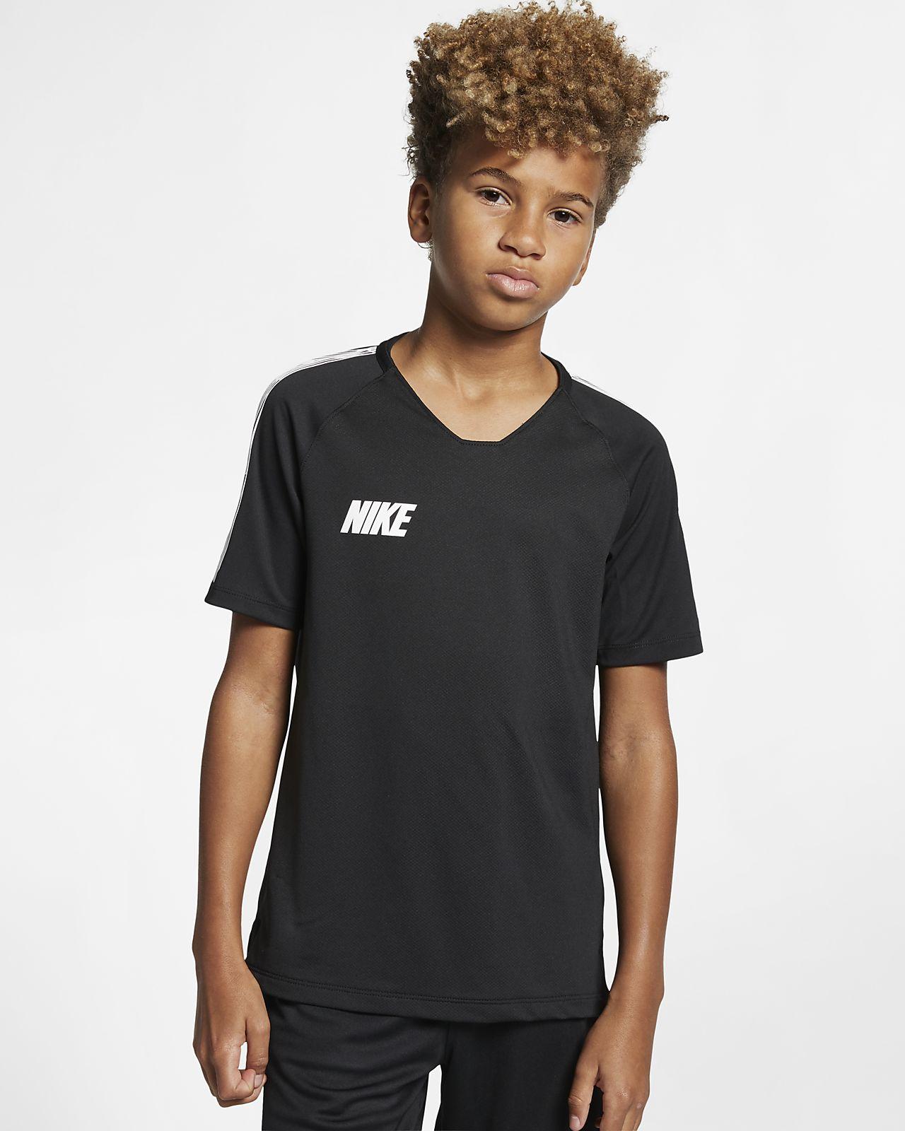 Nike Breathe Squad-kortærmet fodboldtrøje til store børn