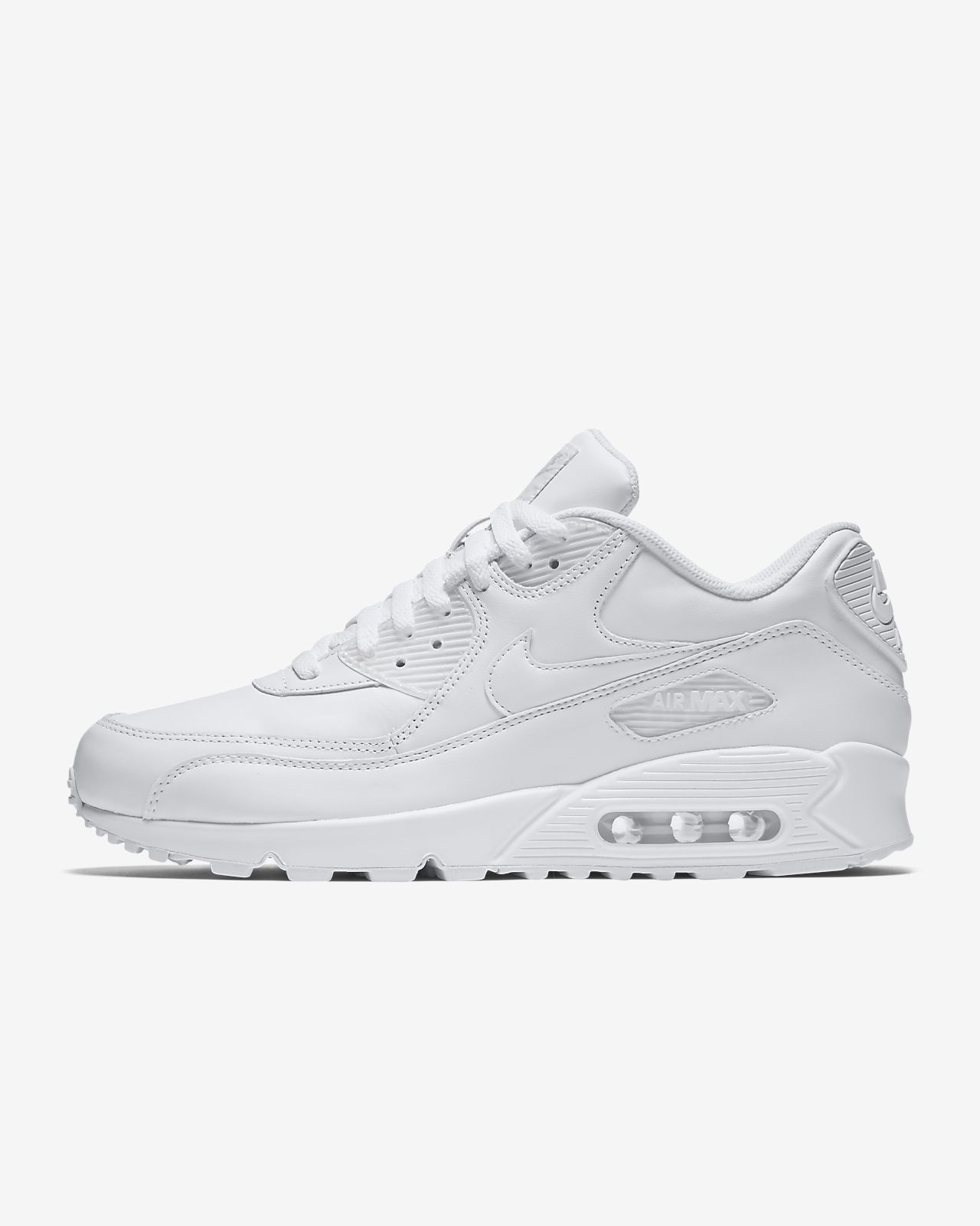 Nike Mens Air Max 90 Leather Lifestyle Running WhiteWhite 302519 113