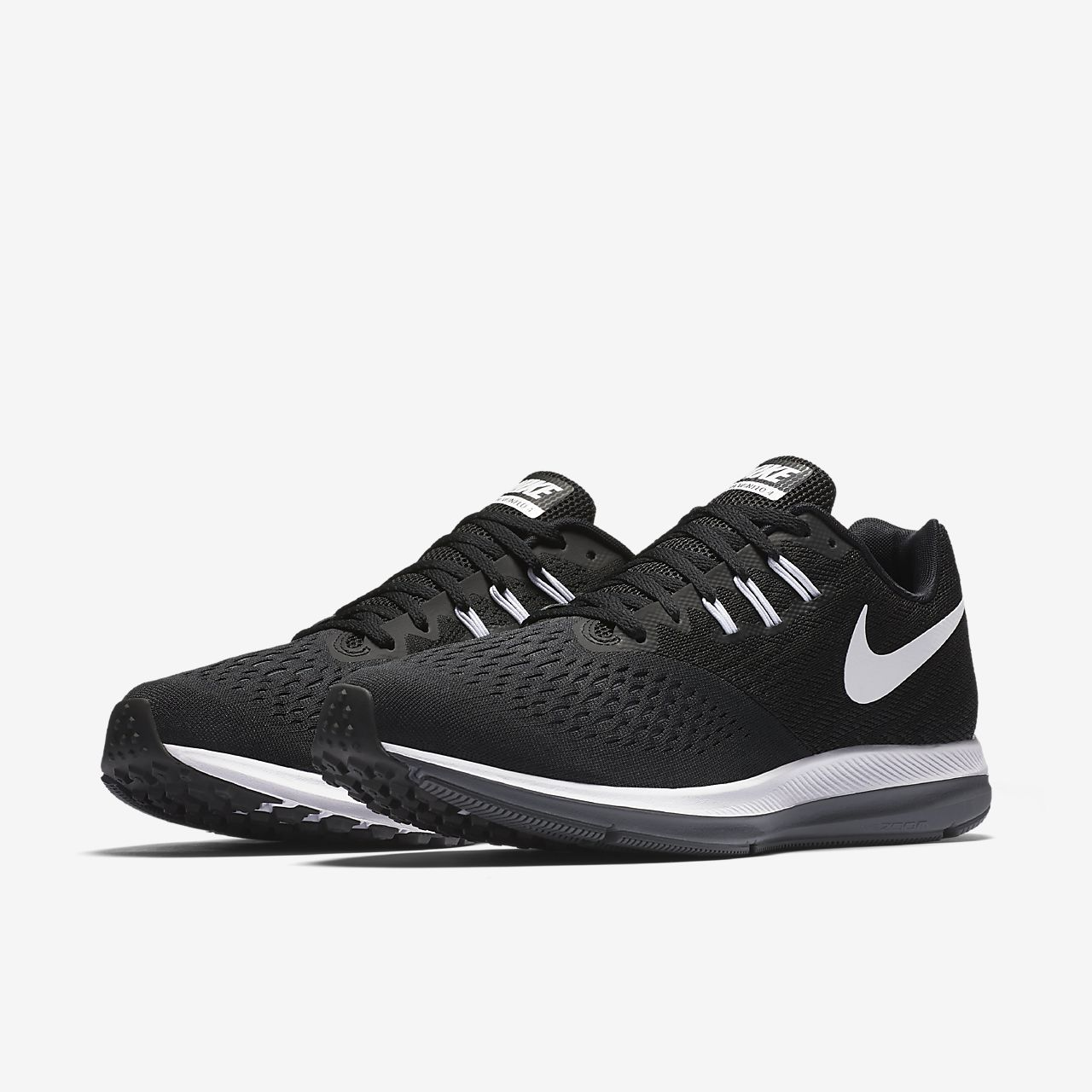 Nike Performance ZOOM WINFLO 4 - Neutral running shoes - black/white/dark grey