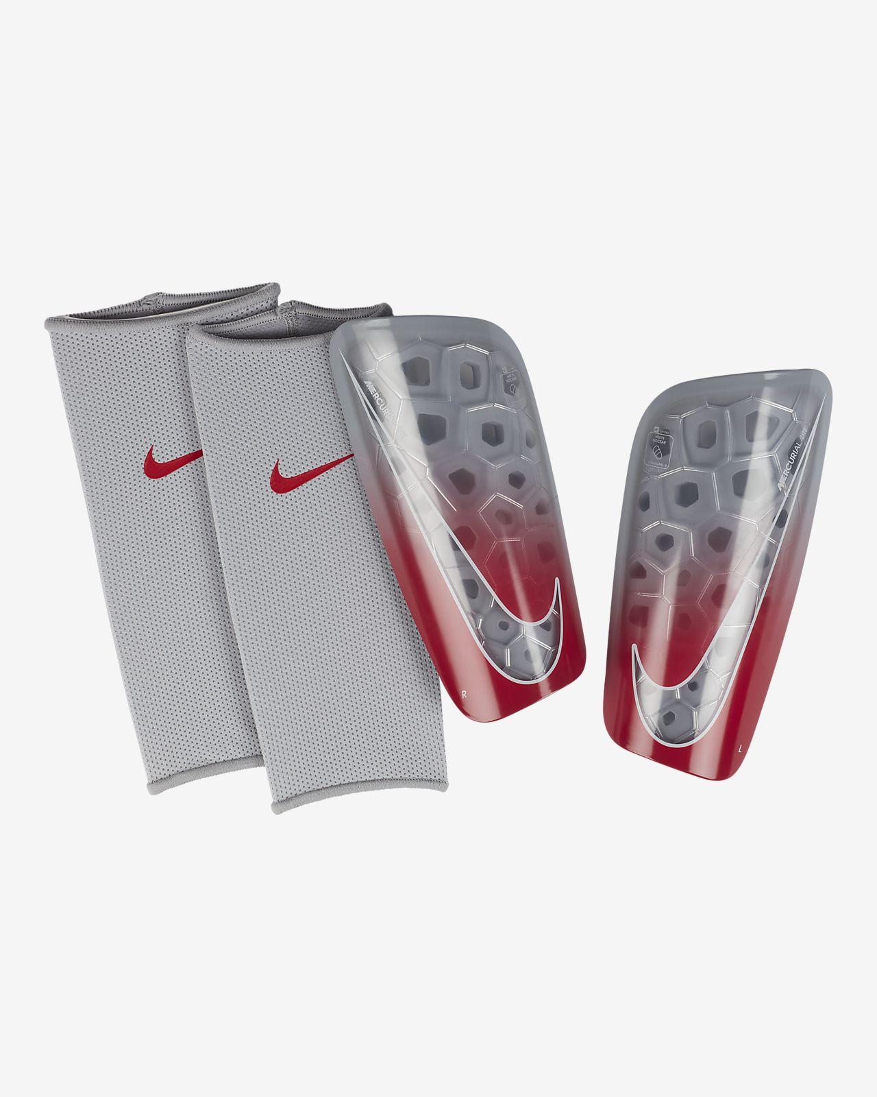d7858c1cd01 Football Nike MERCURIAL LITE CR7 RONALDO CALCIO Parastinchi Shin Pads BLACK  Crimson Red Shinpads