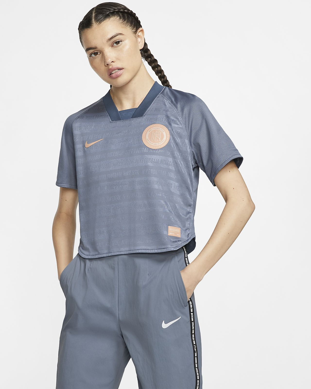 Nike F.C. Dri-FIT-fodboldoverdel med korte ærmer til kvinder