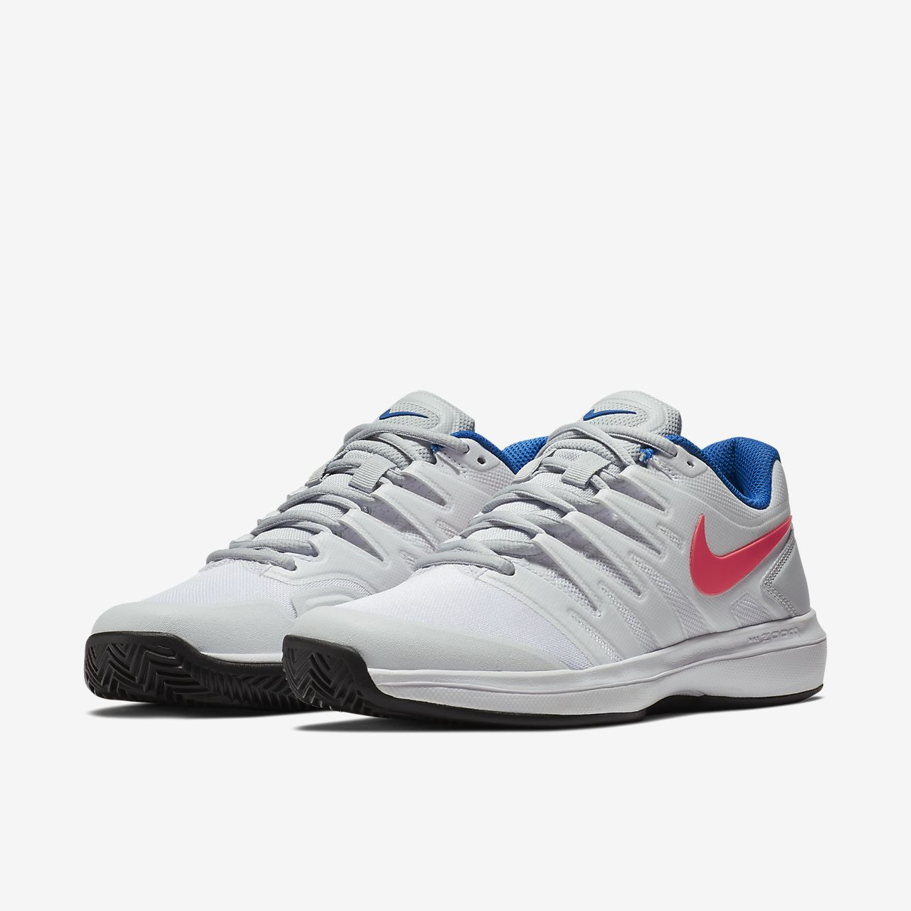 Nike PerformanceAIR ZOOM PRESTIGE CLY - Outdoor tennis shoes - white/hot lava/pure platinum/blue nZdrs8PxT