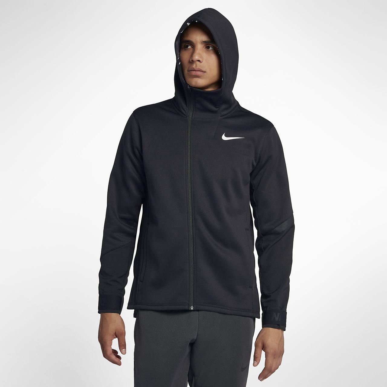 Nike Therma hosszú cipzáras, kapucnis férfi edzőpulóver