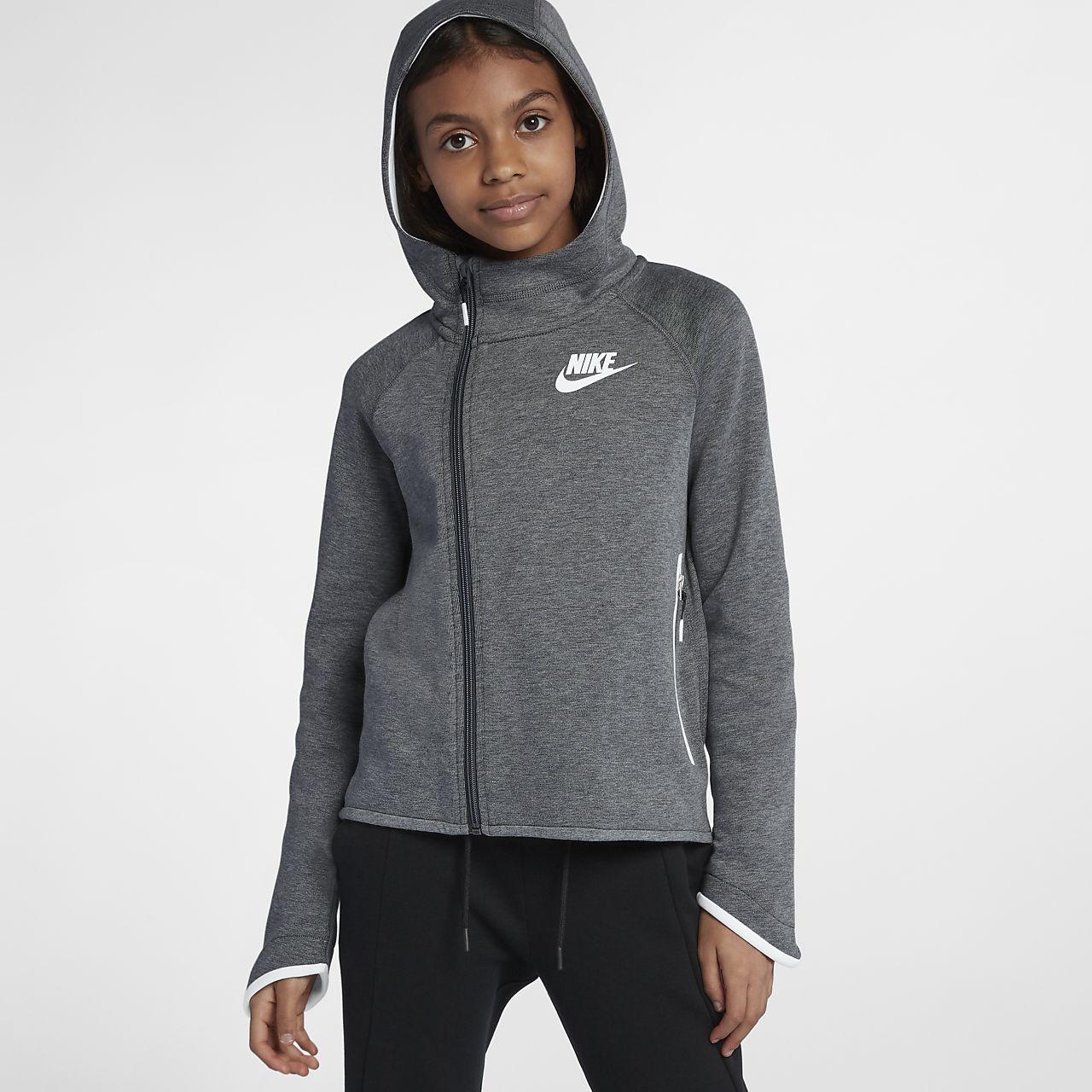 Nike Sportswear Tech Fleece Big Kids' (Girls') Full-Zip Hoodie