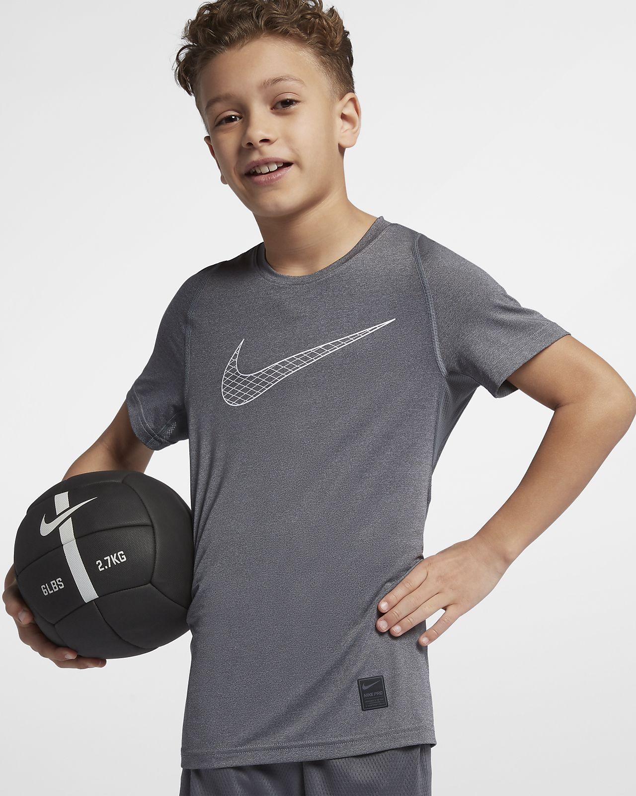 Camiseta de entrenamiento manga corta para niños Nike Pro Big Kids'