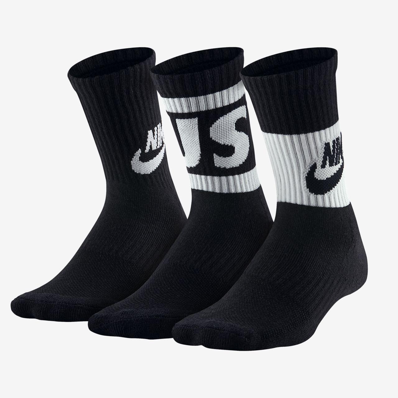 Středně vysoké ponožky Nike Dri-FIT JDI pro menší děti (3 páry)