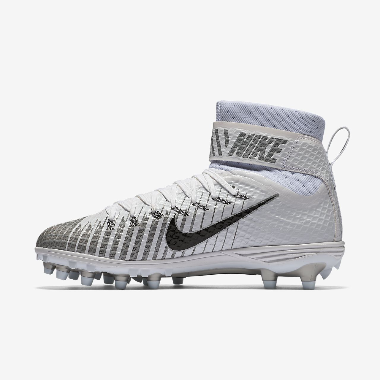 Nike Force Lunarbeast Elite TD Football Cleats White Silver  779422-100 Size 10
