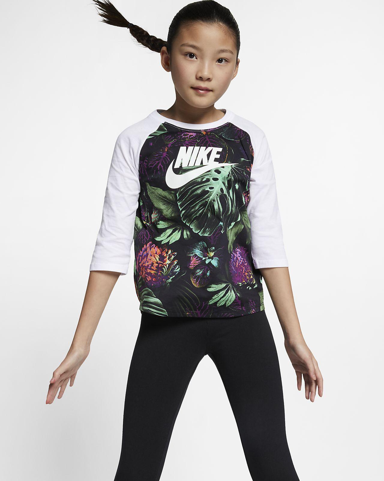 Nike Sportswear Big Kids' (Girls') 3/4-Sleeve Floral T-Shirt