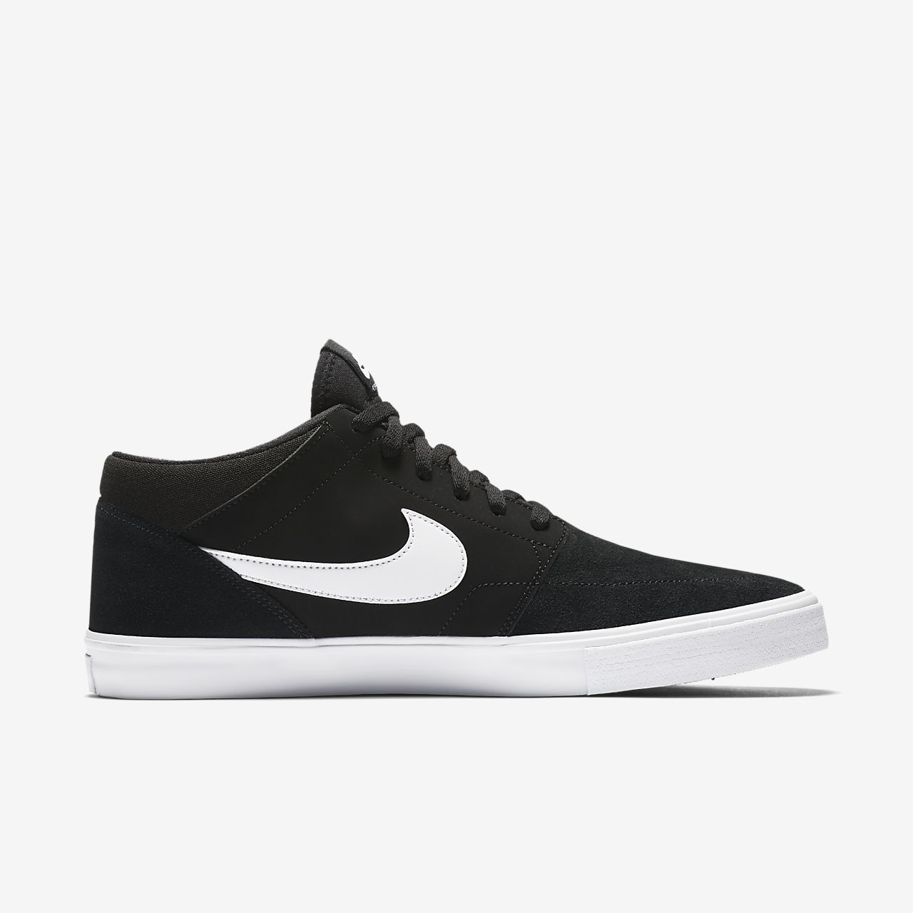 Nike SB Solarsoft Portmore II Mid Men's Skateboarding Shoes Black/White jF9059G