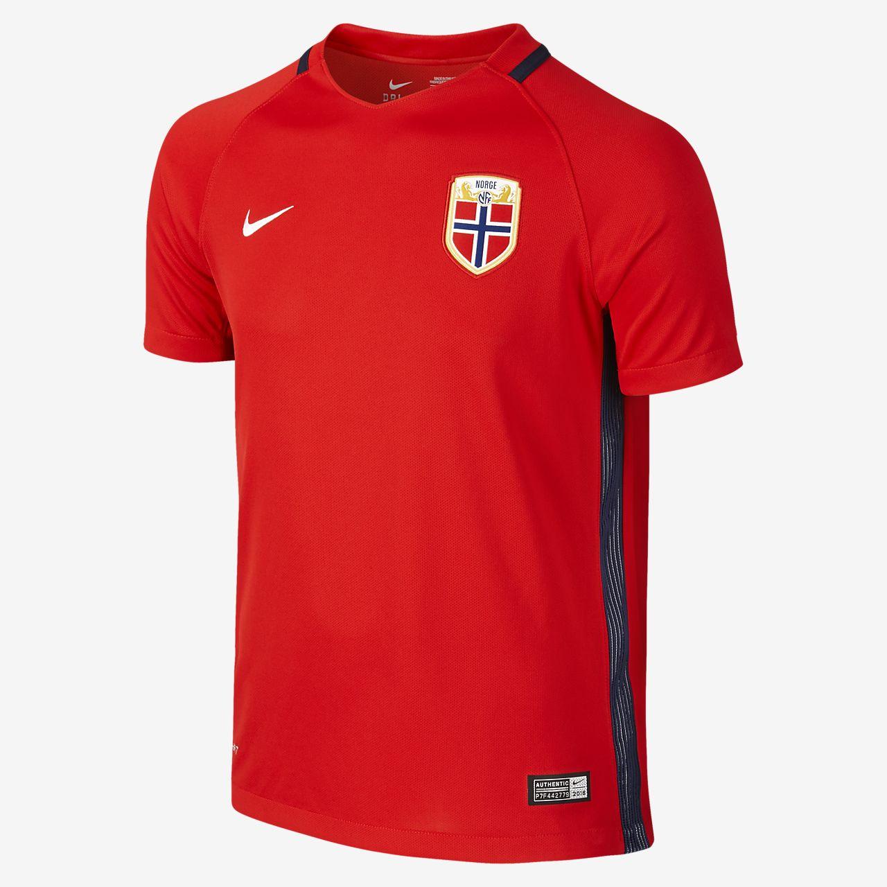 2016 Norwegen Stadium Home Fußballtrikot für ältere Kinder (XS–XL) (122–170 cm)
