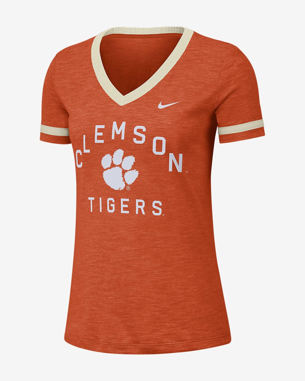Nike College Dri-FIT Fan (Clemson) Women's Short-Sleeve V-Neck Top