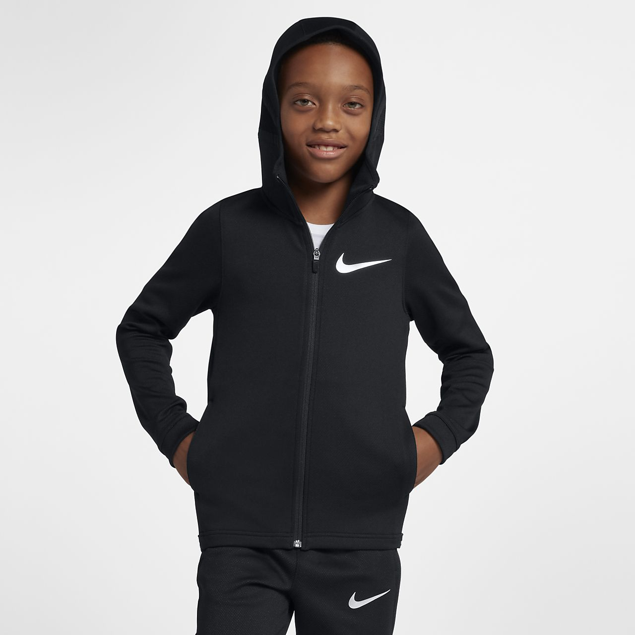 Nike Dri-FIT Therma Flex Big Kids' (Boys') Full-Zip Basketball Hoodie