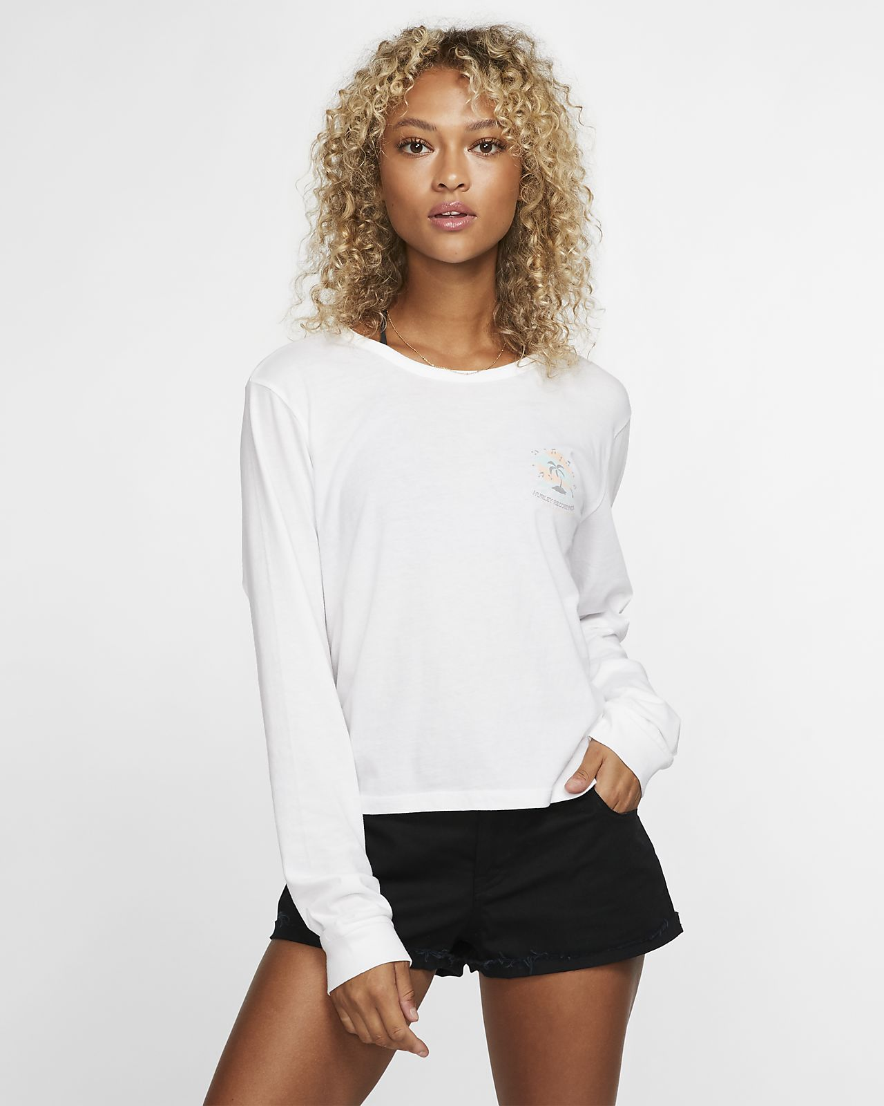 Tee-shirt à manches longues Hurley Record Palms Perfect pour Femme