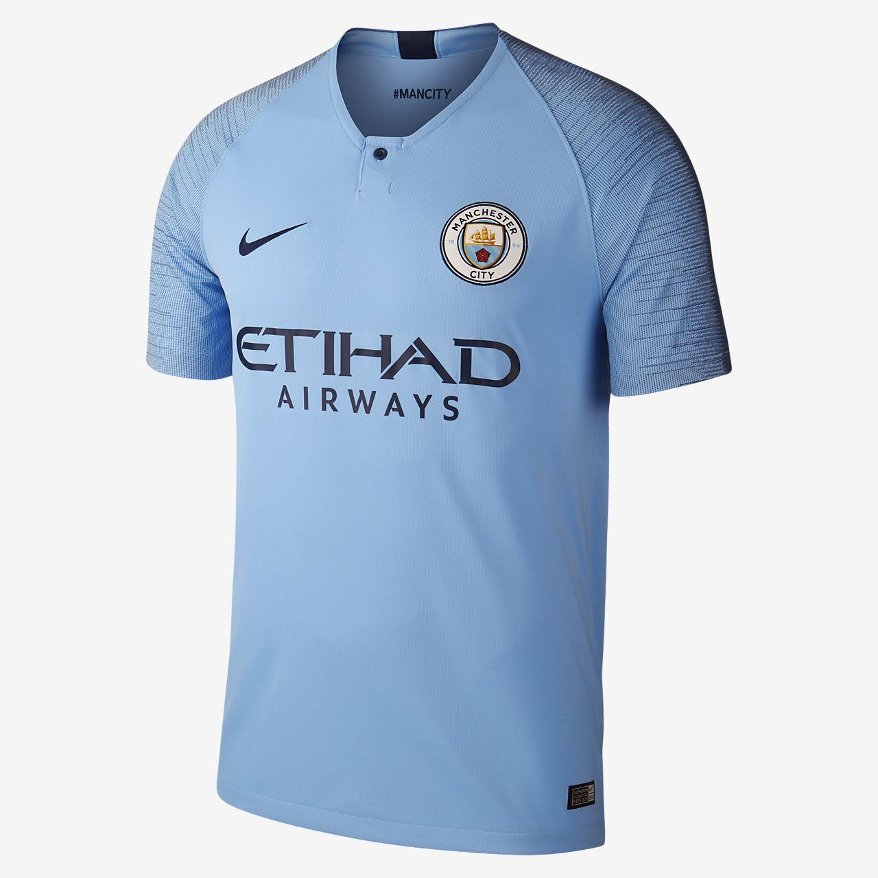 5abd5bc6d78 2018 19 Manchester City FC Stadium Home Men s Football Shirt. Nike ...