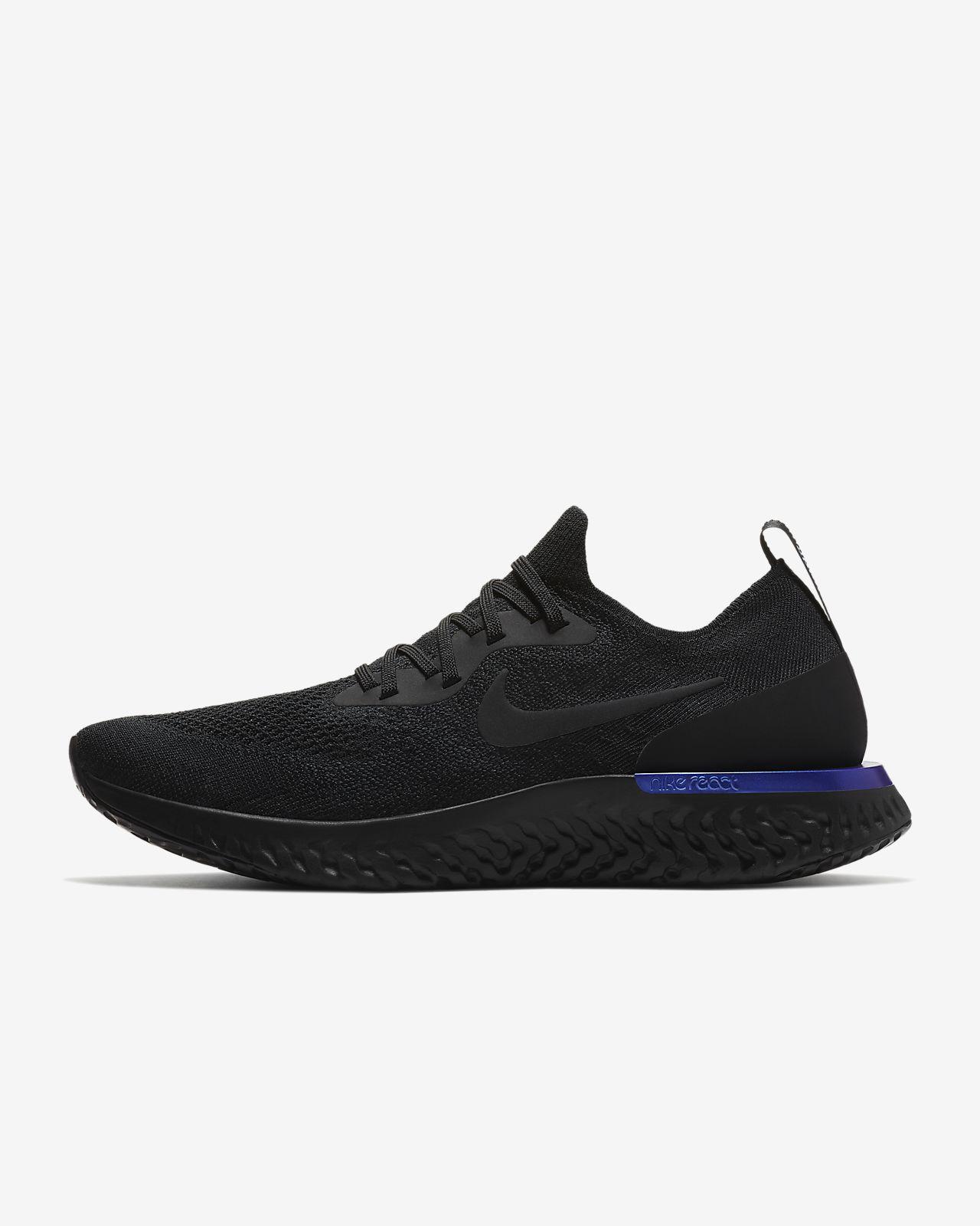 Mens Women Nike Epic React Flyknit Black AU Blue Running Shoes AQ0067-004