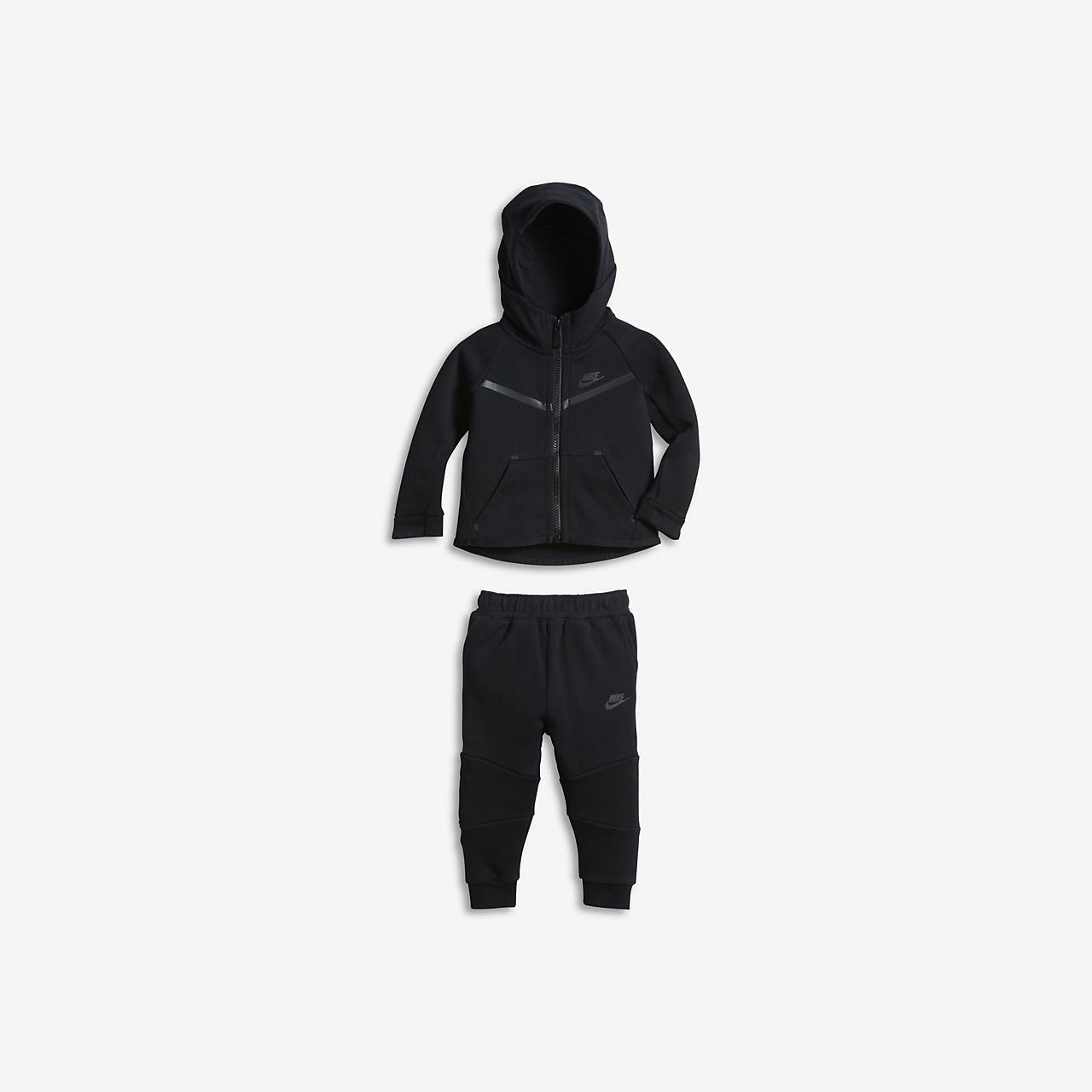 Vellidte Nike Tech Fleece Baby-sæt med bukser og hættetrøje til babyer (12 YO-23