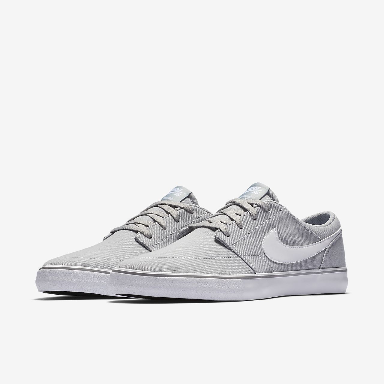 Nike SB PORTMORE II SS CNVS - Trainers - wolf grey/white/black 7B1HI0J3st