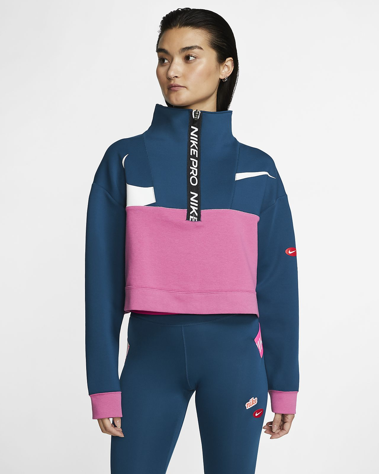 Chamarra de medio cierre de tejido Fleece para mujer Nike Pro Get Fit Icon Clash