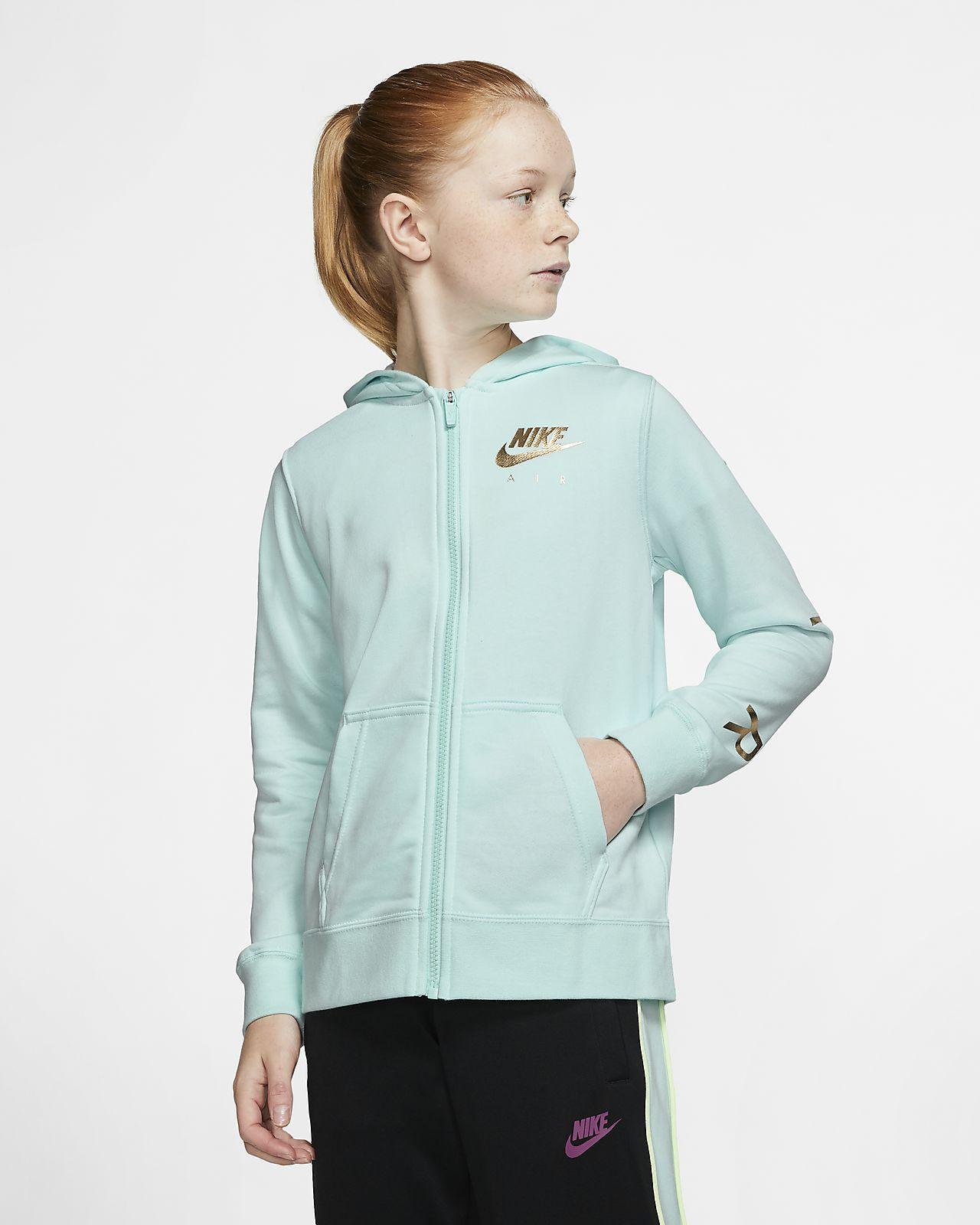 Sudadera con capucha de tejido Fleece con cierre completo para niña talla grande Nike Air