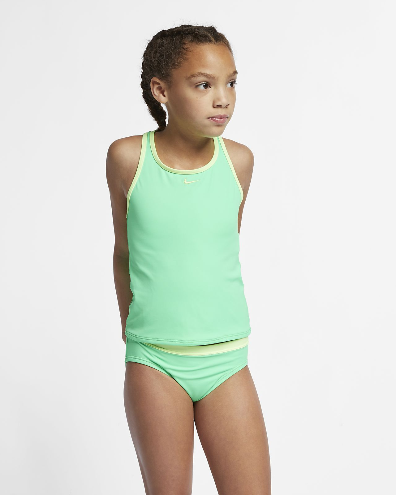 7d787654ab6f9 ... Nike Core Solid Racerback Tankini Big Kids  (Girls ) Two-Piece Swimsuit