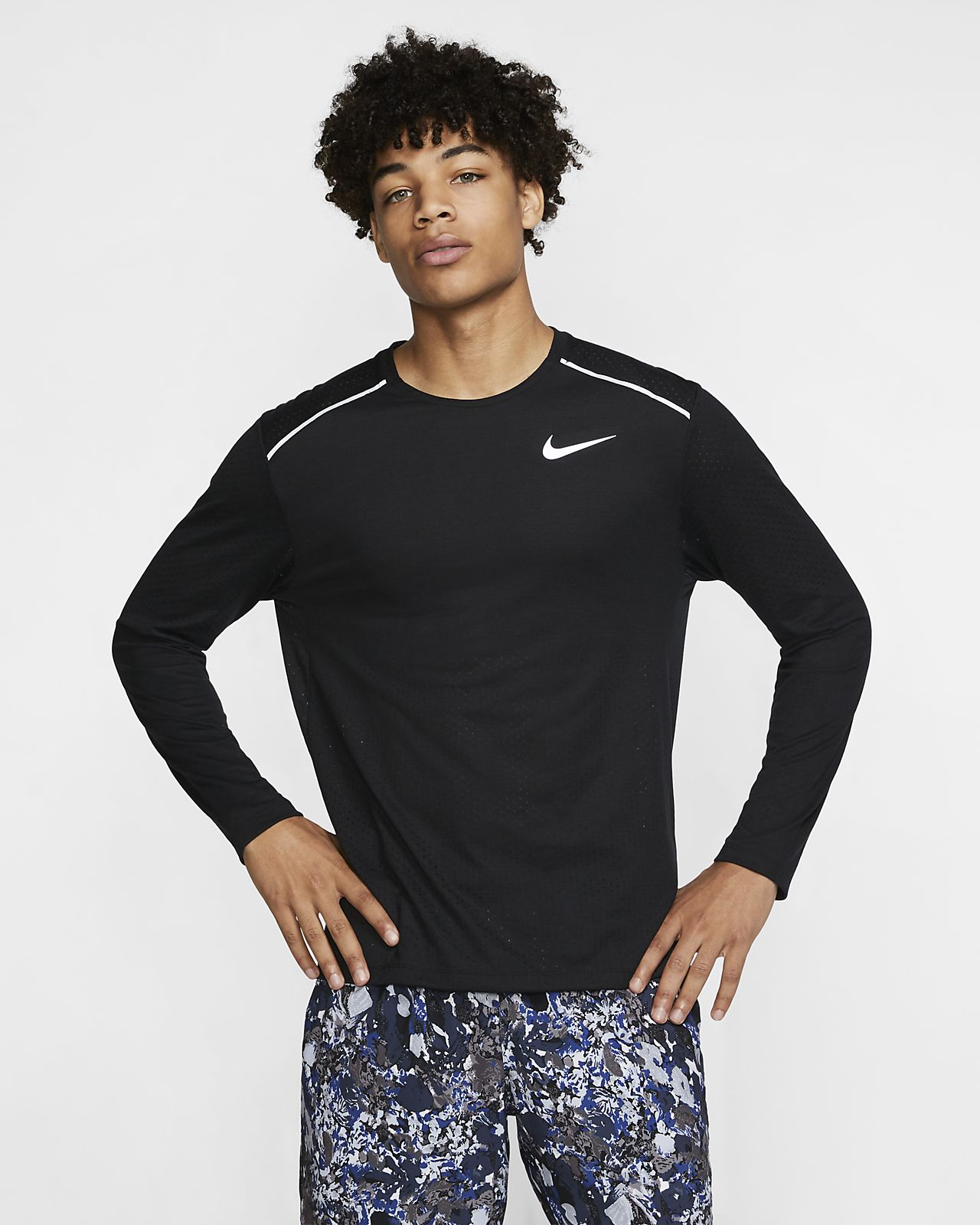 Top de running de manga larga para hombre Nike Rise 365
