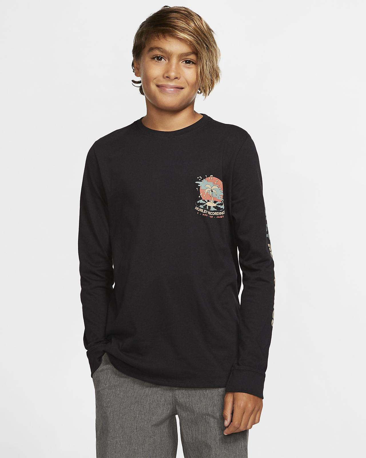 Hurley Premium Record Palms Boys' Long-Sleeve T-Shirt