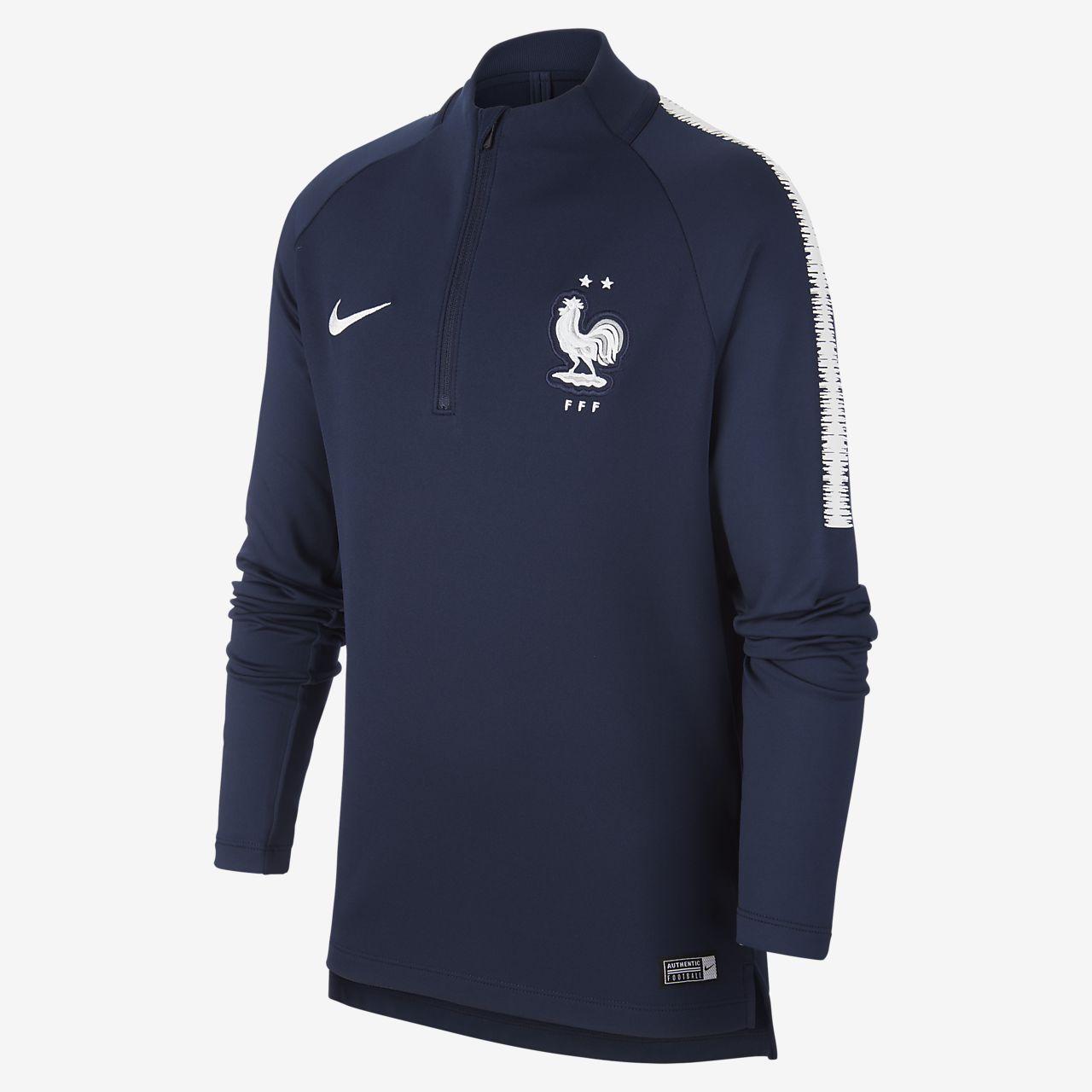 Fotbalové tričko s dlouhým rukávem FFF Dri-FIT Squad Drill pro větší děti
