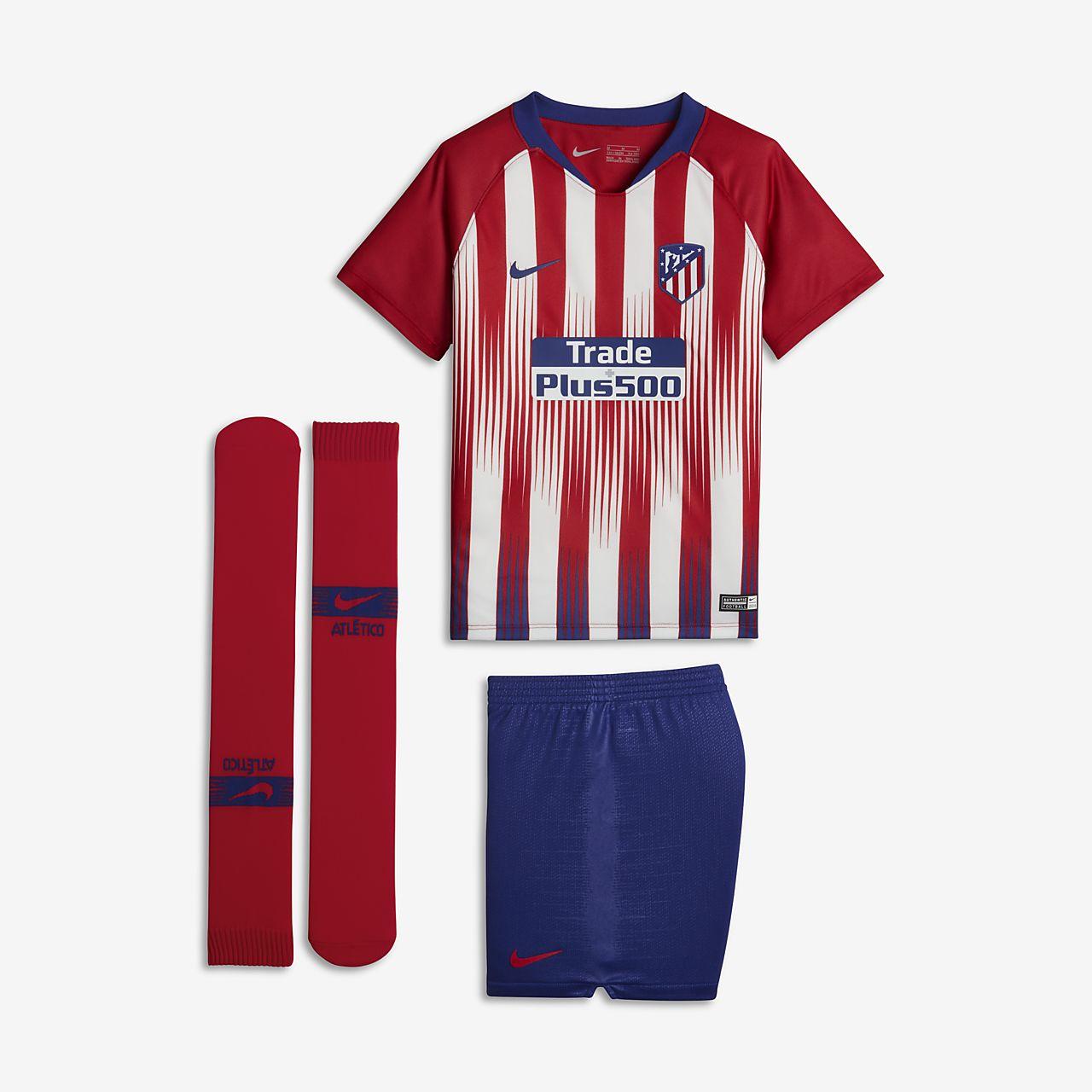 Kit de fútbol para niños talla pequeña de local Stadium del Atlético de Madrid  2018  346c8f476f3dd