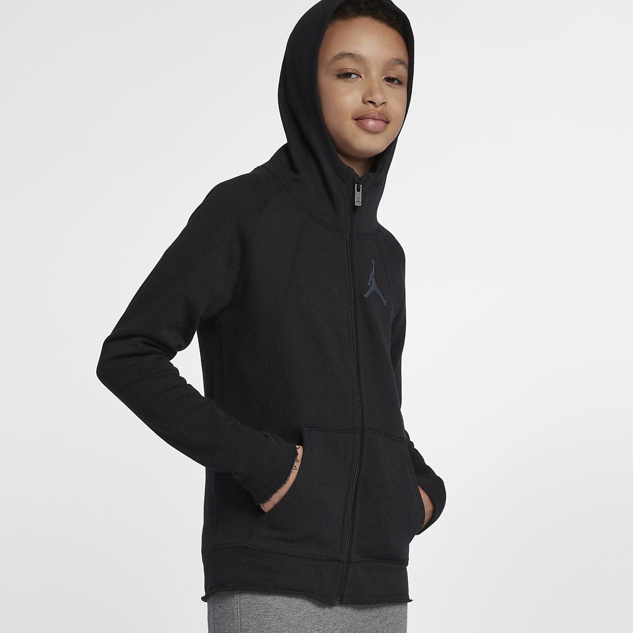 Mikina s kapucí a dlouhým zipem Jordan Sportswear Wings Lite pro větší děti (chlapce)