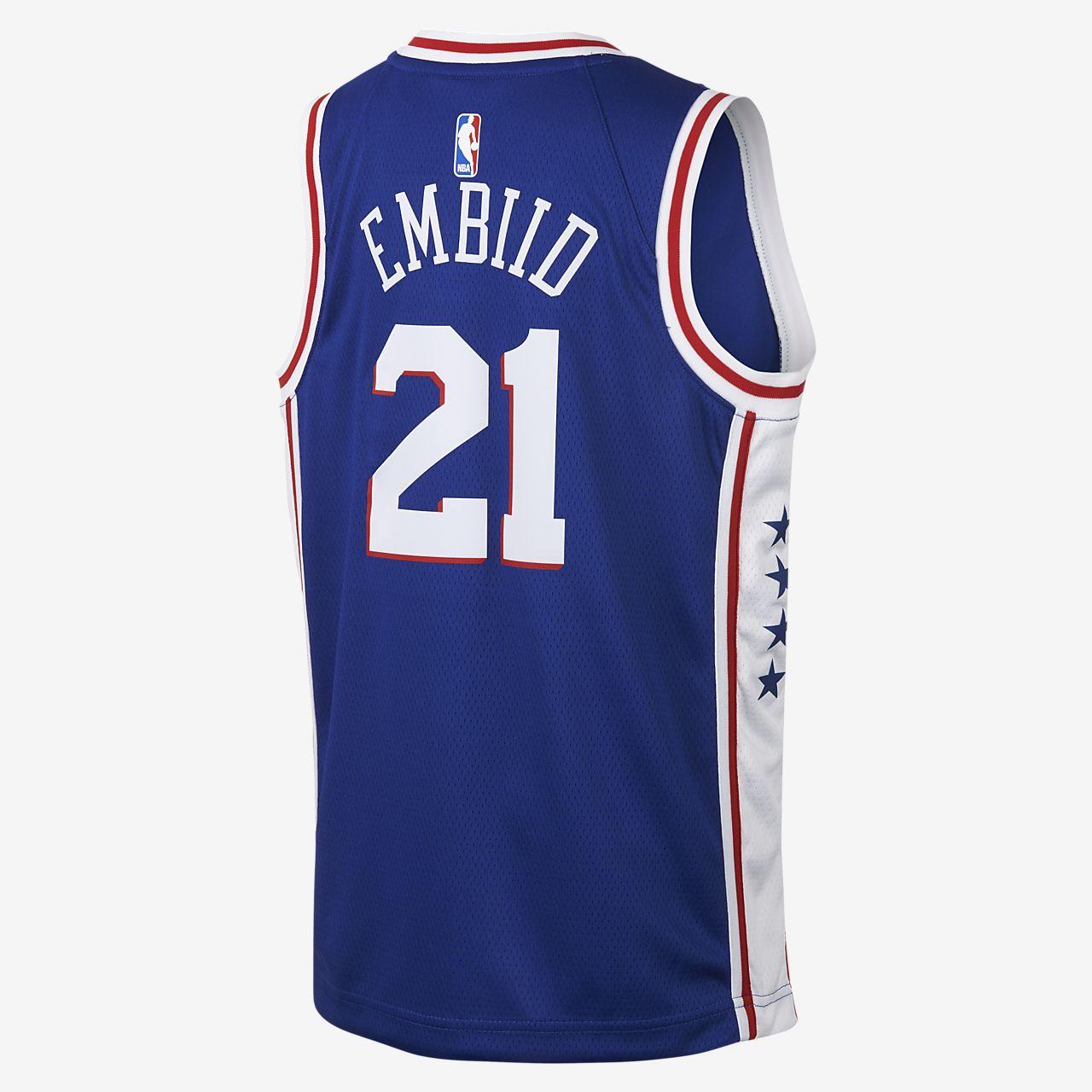 best loved 80d96 245d8 Joel Embiid Philadelphia 76ers Nike Icon Edition Swingman Big Kids' NBA  Jersey