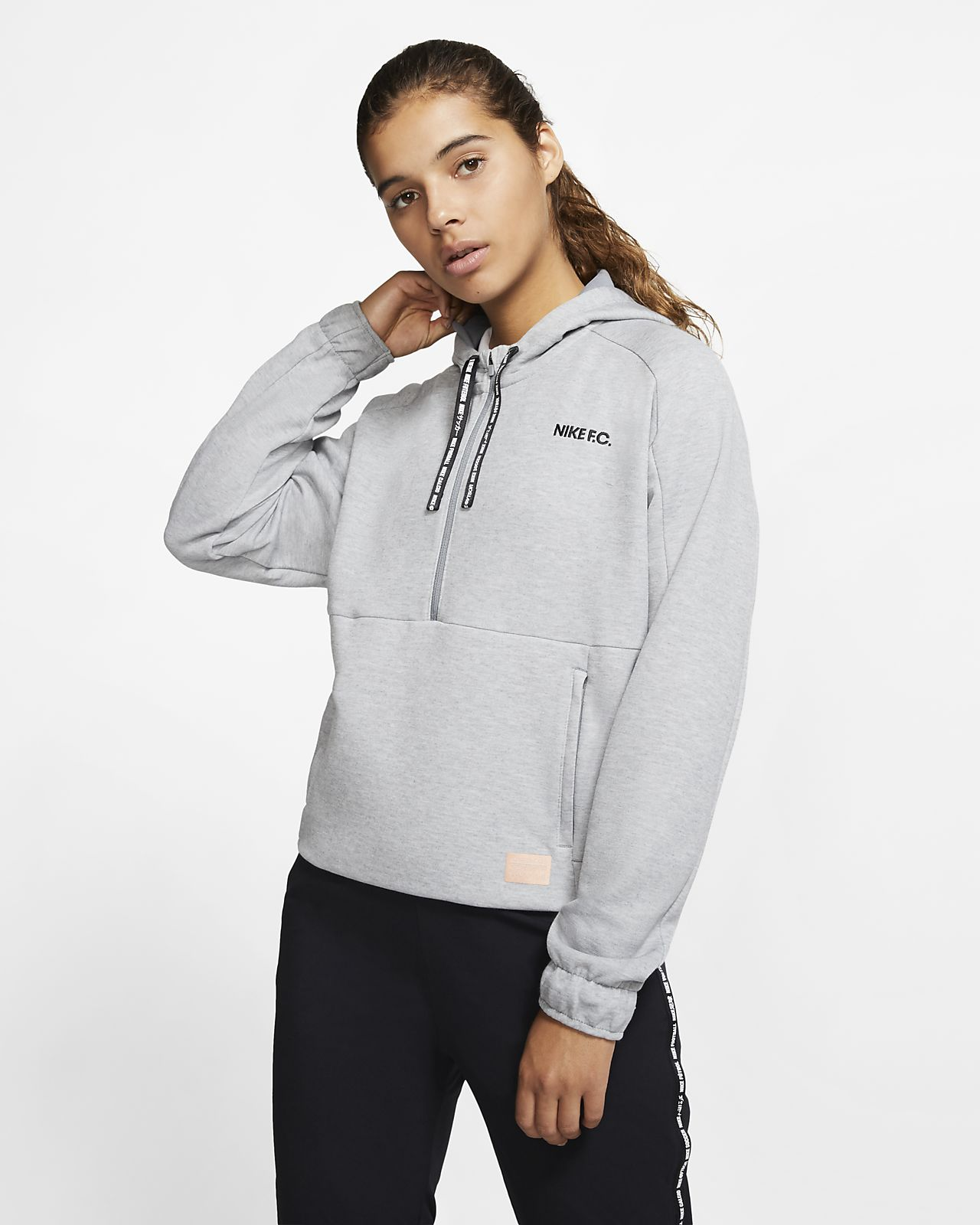 Nike F.C. Dri-FIT rövid cipzáras női kapucnis pulóver futballhoz