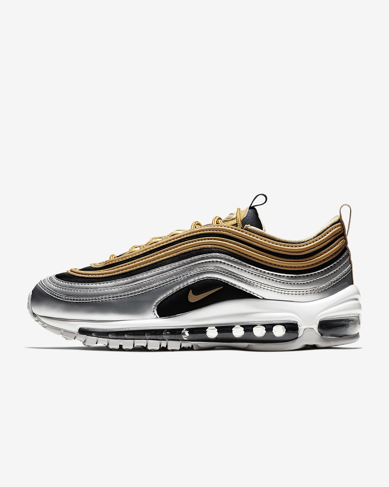 baskets nike femme air max 97 noir or