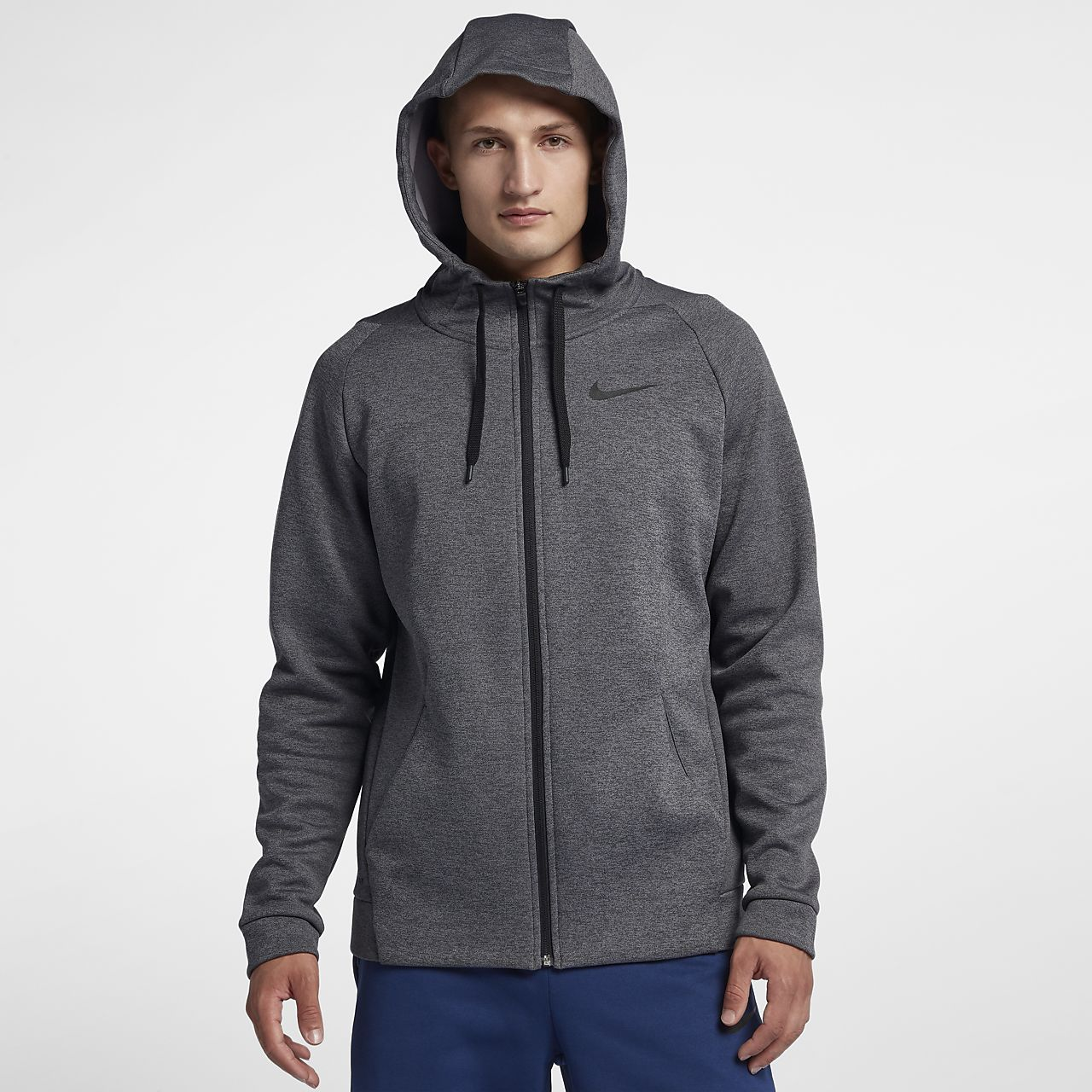 Details zu Nike Damen Trainings Freizeit Jacke Full Zip Hoodie Nike Dri FIT schwarz grau