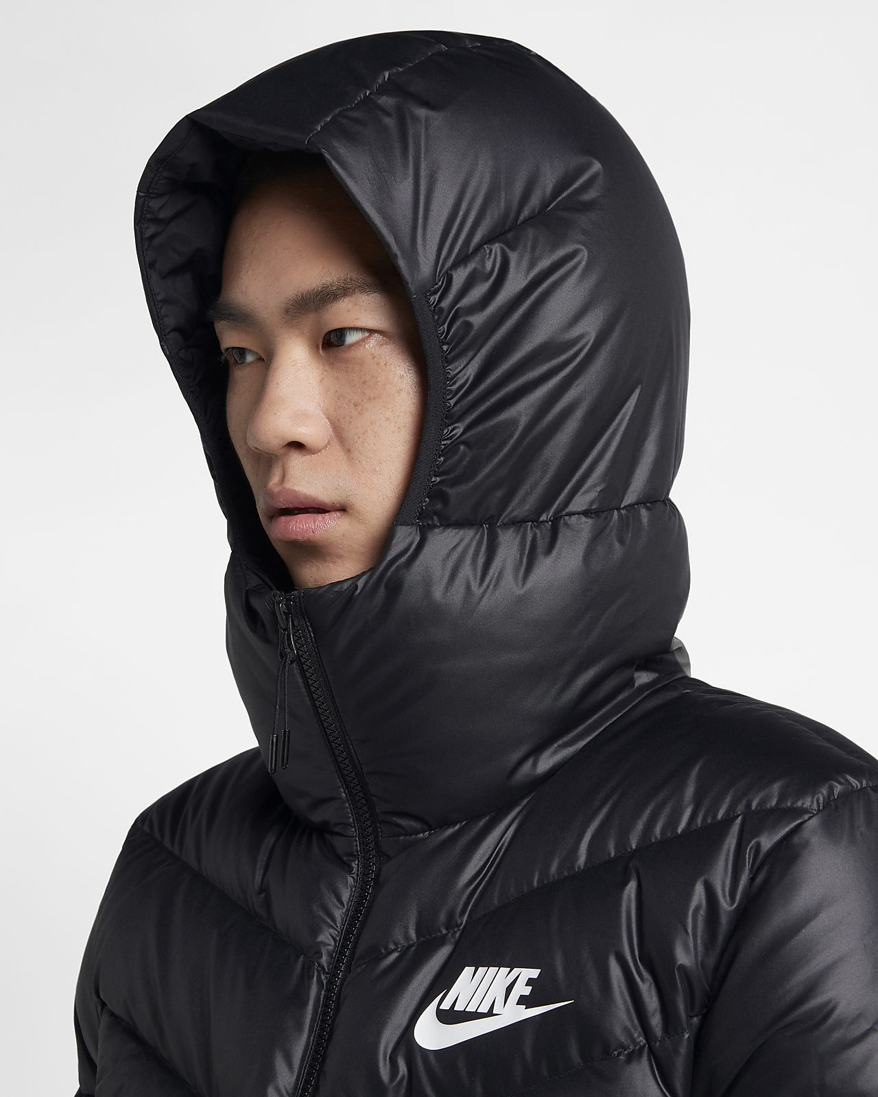 Nike giacca piumino con cappuccio Nike sportswear windrunner down fill nero
