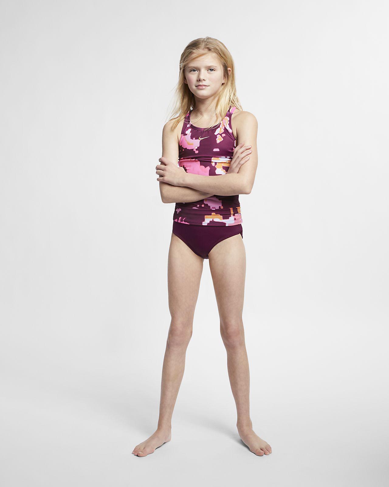 5bf66b379cec ... Nike Glitch Spiderback Tankini Big Kids' (Girls') Two-Piece Swimsuit