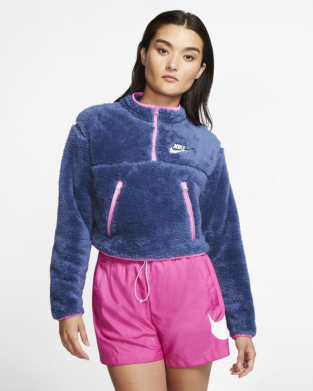 Nike Sportswear Women's 14 Zip Sherpa Fleece Crop Top