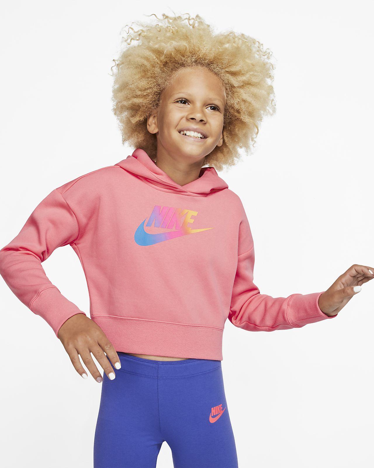 Μπλούζα με κουκούλα σε κοντό μήκος Nike Sportswear για μεγάλα κορίτσια