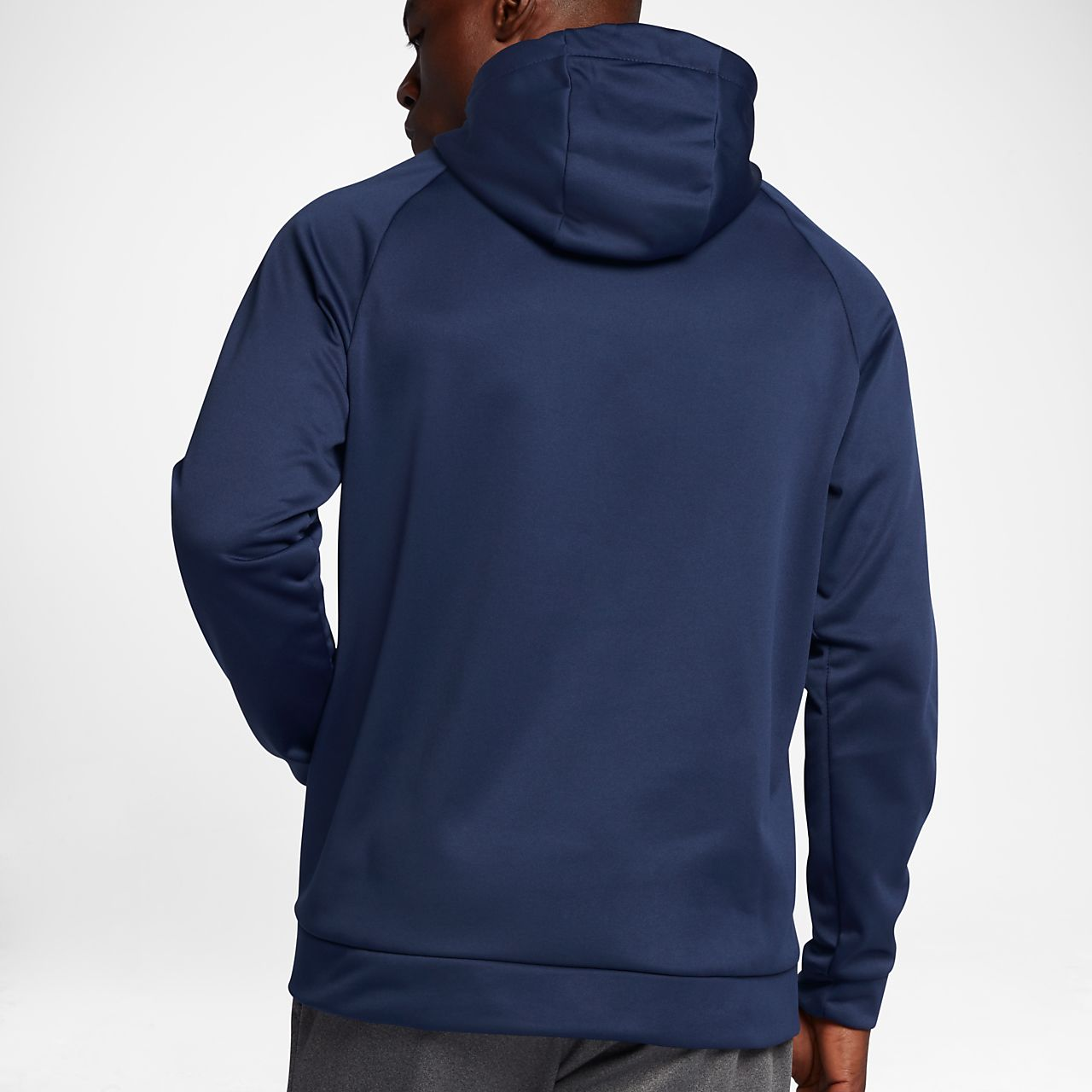 Mens Nike Therma Fit Chalk Logo Carbon Heather/Black Training Hoodie
