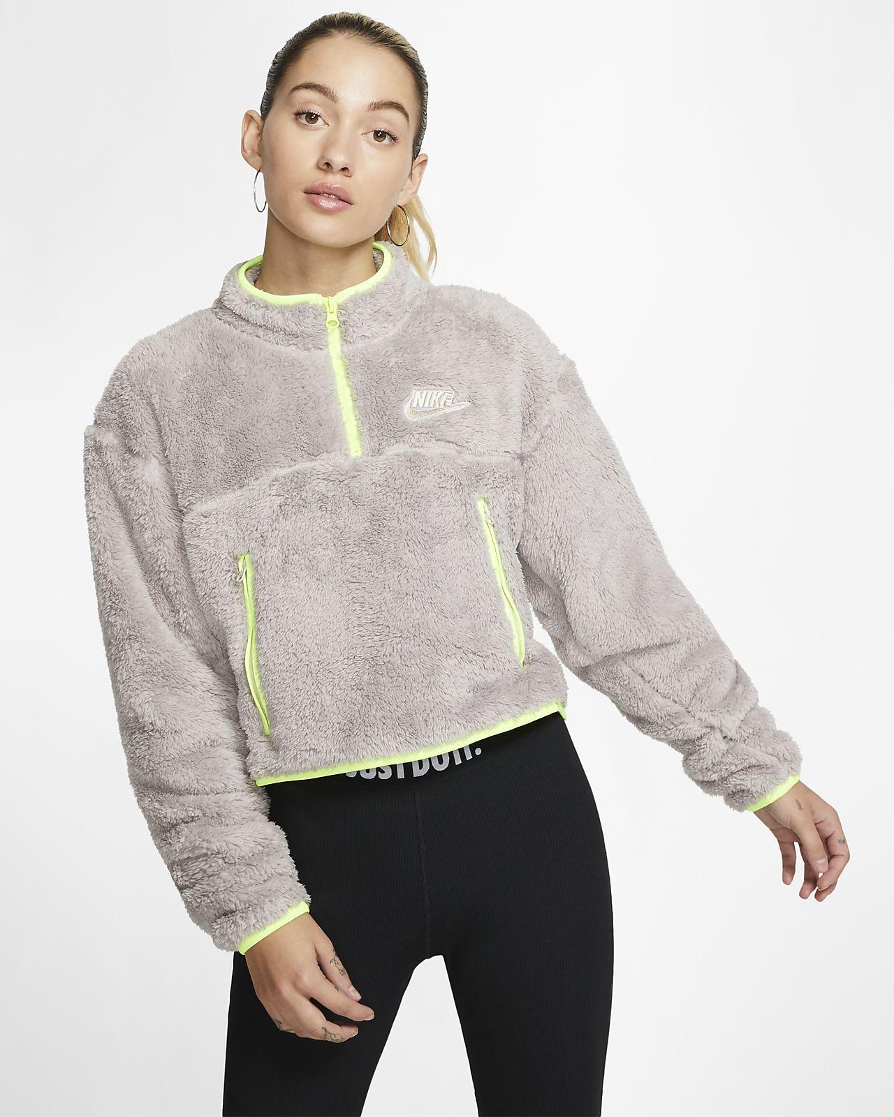 Dámský flísový zkrácený top Nike Sportswear s umělým beránkem a čtvrtinovým zipem