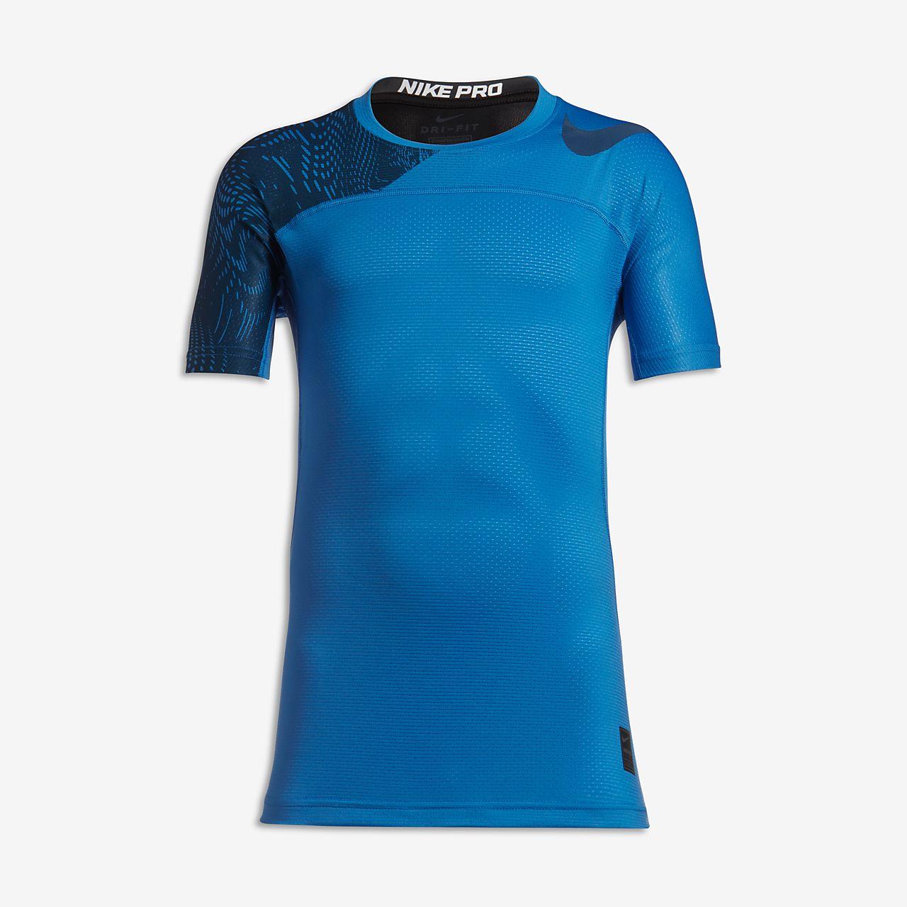 Nike Pro HyperCool Big Kids' Short Sleeve Training Tops Light Photo Blue/Industrial Blue