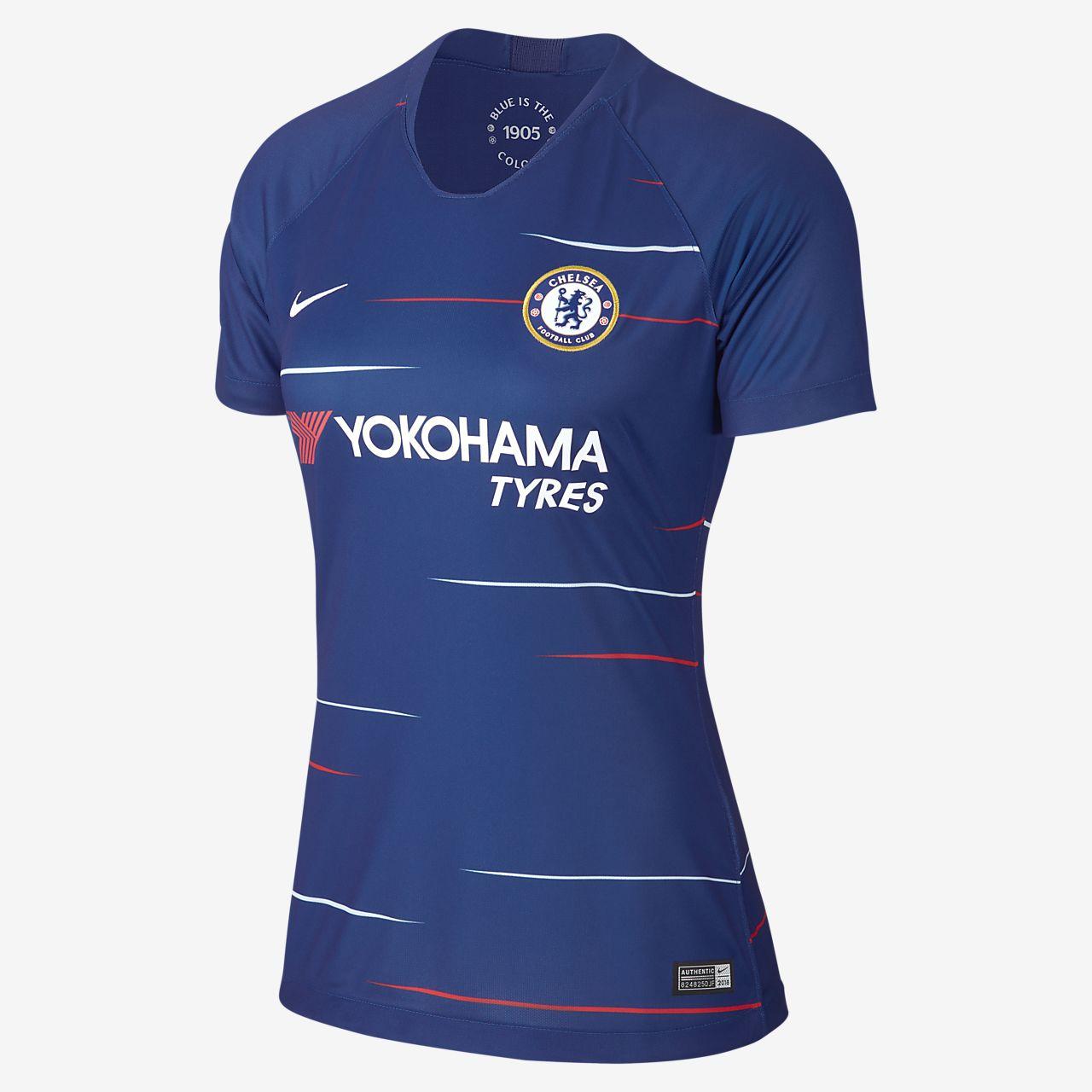 Camiseta de fútbol para mujer 2018 19 Chelsea FC Stadium Home. Nike ... f847e3e08af03